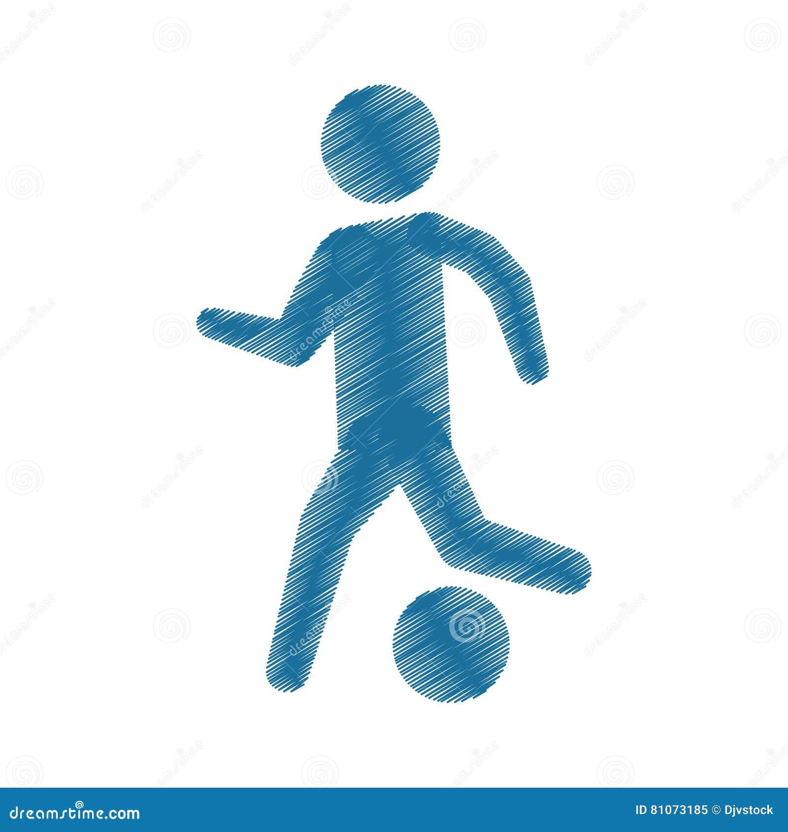 Icono Coloreado De Dibujo Del Balón De Fútbol Del Jugador De La ...