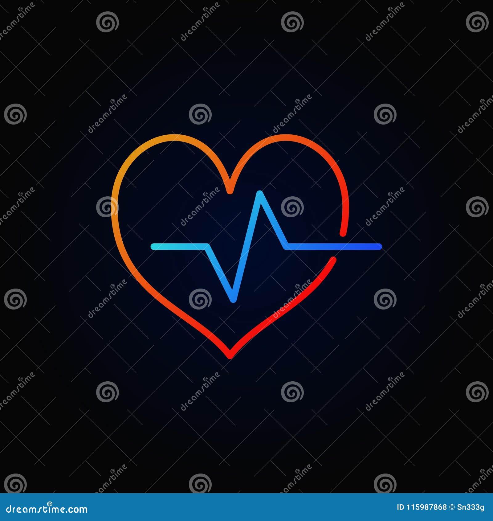 Icono coloreado del esquema del ciclo cardiaco Muestra brillante del latido del corazón del vector