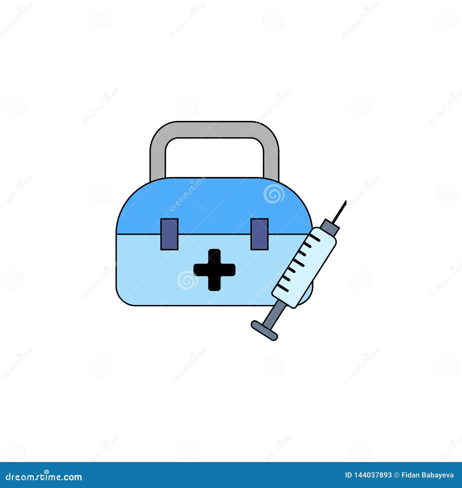 Icono coloreado juguete de la ayuda de emergencia de la salud de la historieta Las muestras y los s?mbolos se pueden utilizar par