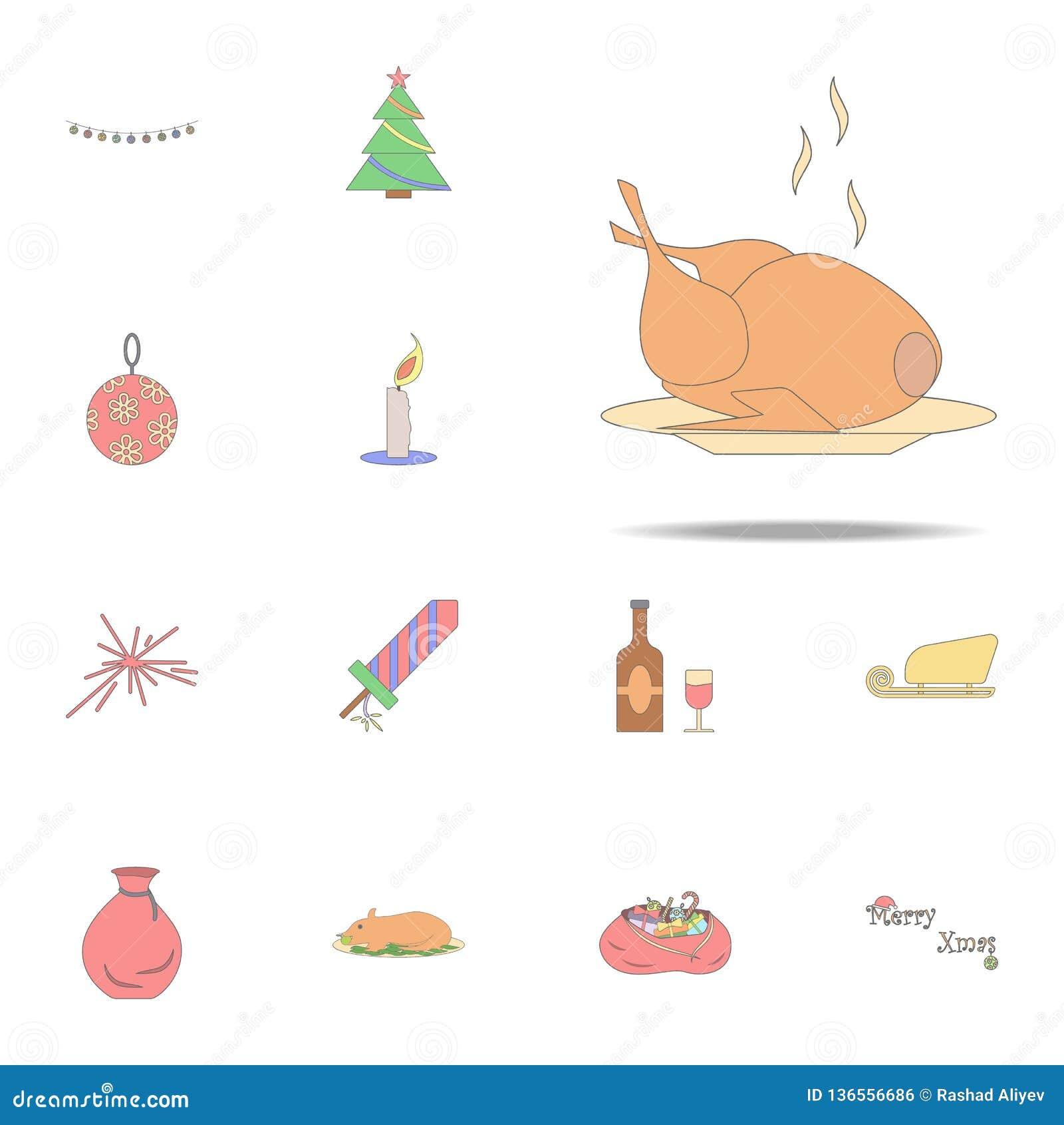 Icono Coloreado Pavo De La Navidad Sistema Universal De Los