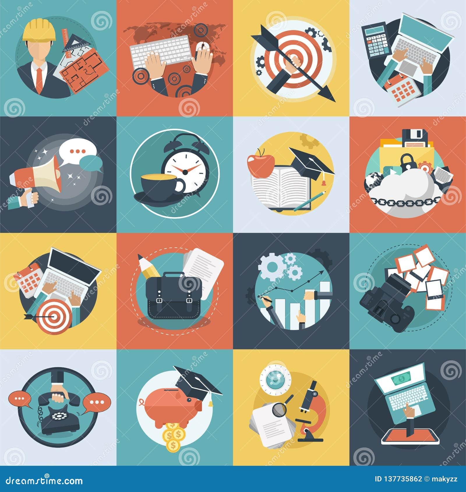 Icono colorido del negocio y de la tecnología fijado para las páginas web y las aplicaciones móviles Vector plano