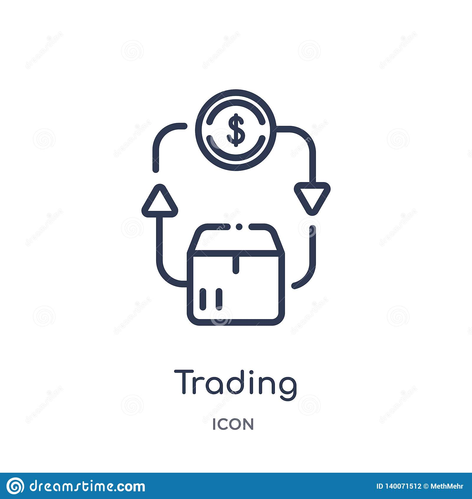 Icono comercial linear del comercio y de la colección del esquema que hace compras Línea fina icono del comercio aislado en el fo