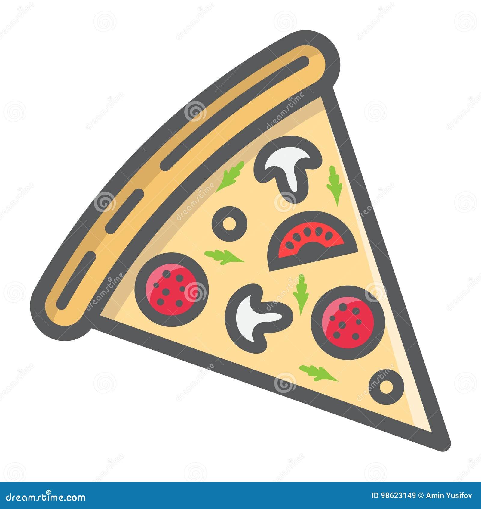Icono, comida y bebida llenados rebanada del esquema de la pizza