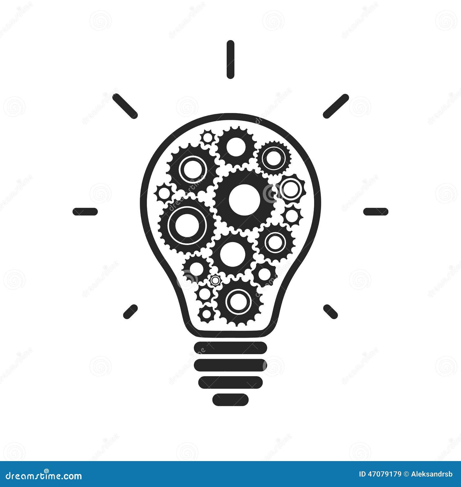 icono conceptual simple de la bombilla con los engranajes ilustraci u00f3n del vector