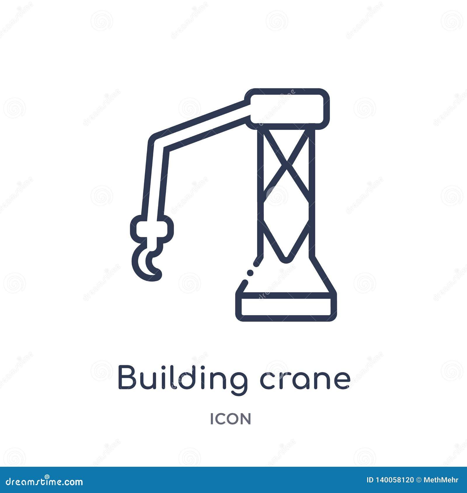 Icono constructivo linear de la grúa de la colección del esquema general Línea fina icono de la grúa del edificio aislado en el f