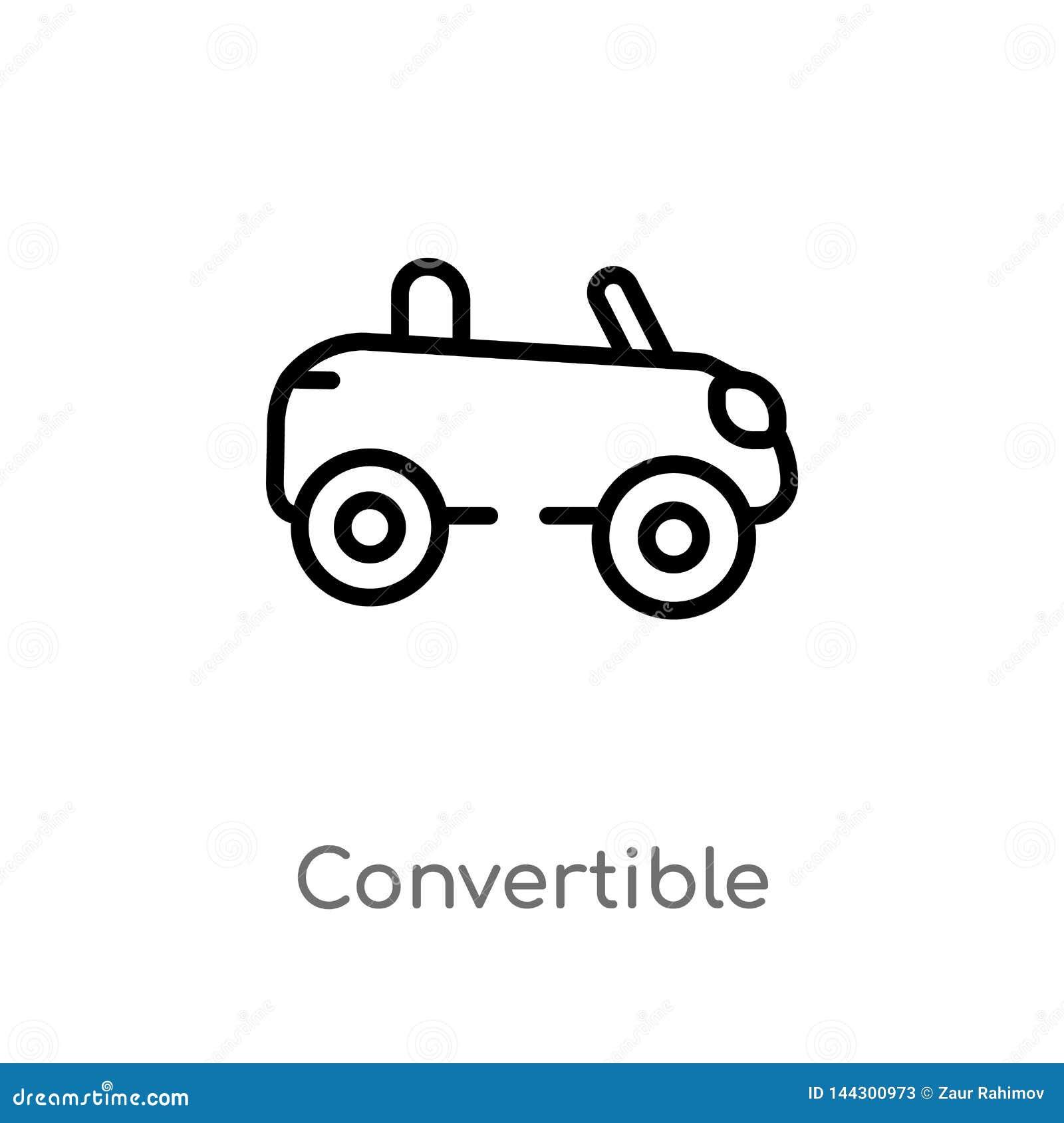 Icono convertible del vector del esquema línea simple negra aislada ejemplo del elemento del concepto del transporte Vector Edita