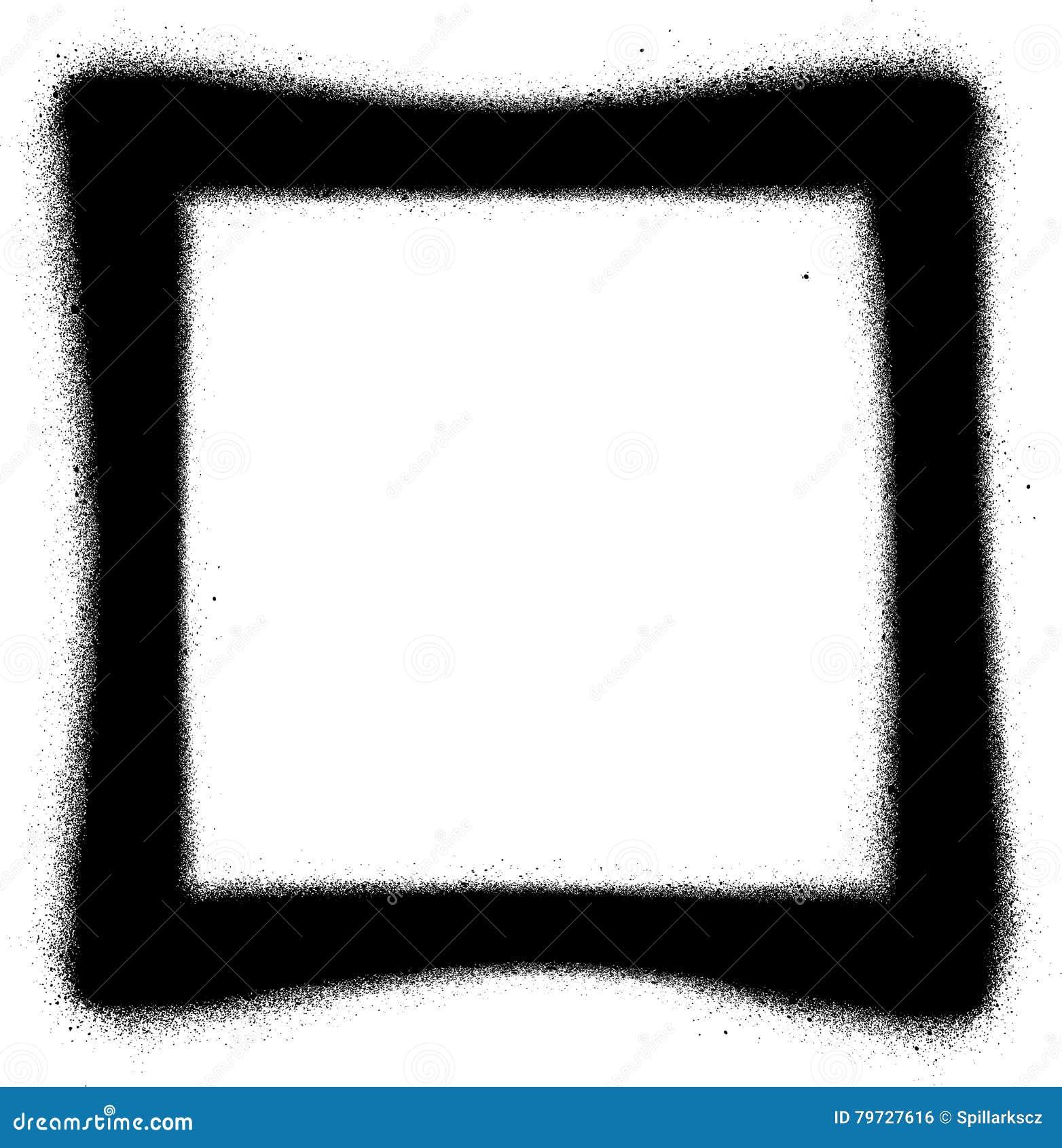 Icono cuadrado del espray de la pintada en negro sobre blanco