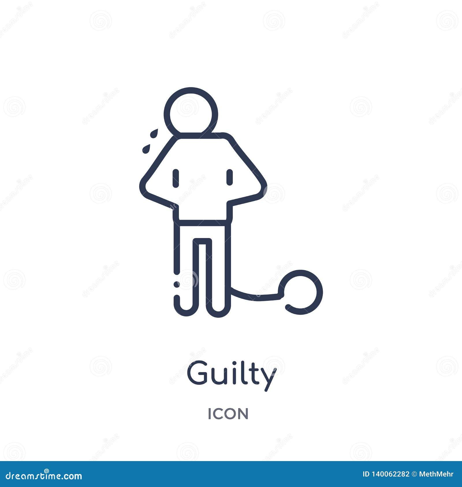 Icono culpable linear de la colección del esquema de la ley y de la justicia Línea fina icono culpable aislado en el fondo blanco