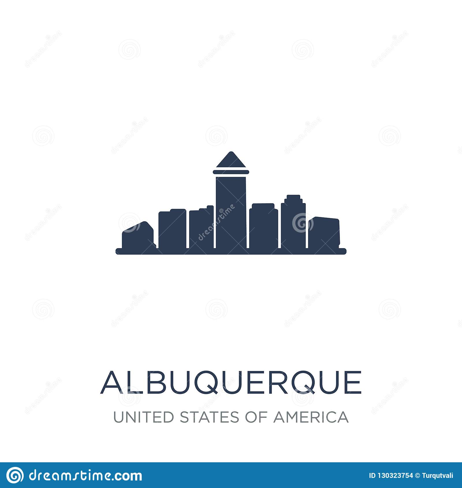 Icono de Albuquerque Icono plano de moda de Albuquerque del vector en b blanco
