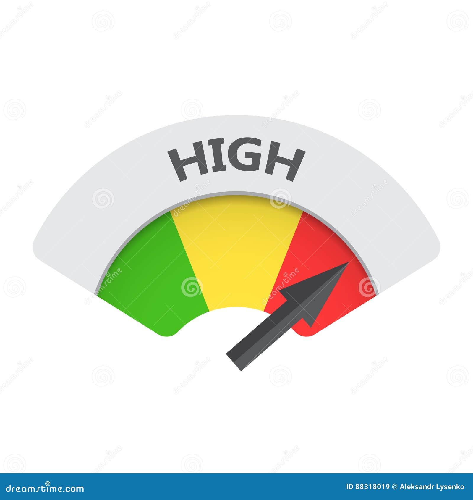 icono de alto nivel del vector del indicador del riesgo