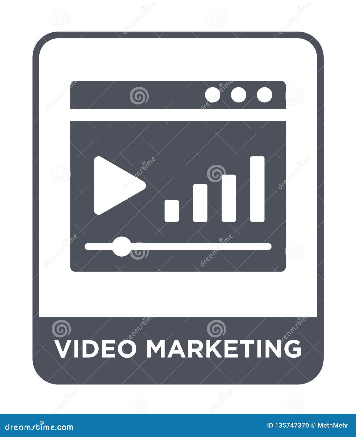 Icono de comercialización video en estilo de moda del diseño icono de comercialización video aislado en el fondo blanco icono de