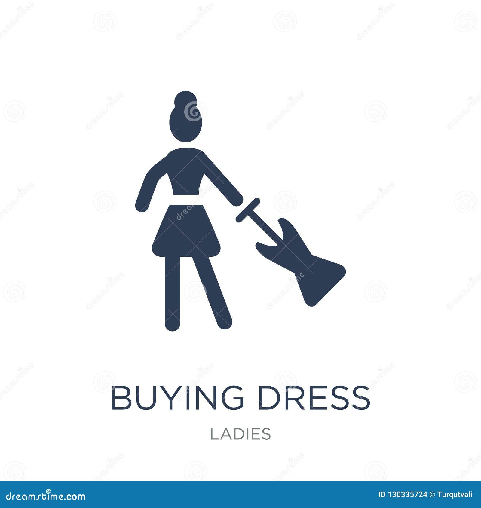Icono de compra del vestido Icono de compra del vestido del vector plano de moda en blanco