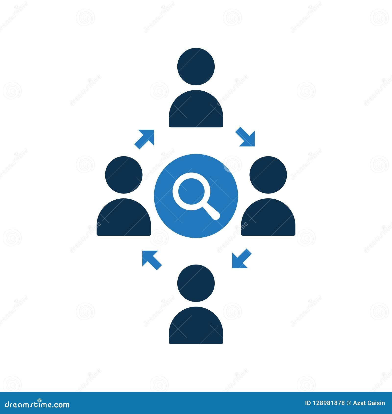 Icono de conexión de la gente Icono de la comunidad con la muestra de la investigación El icono del trabajo en equipo y explora,