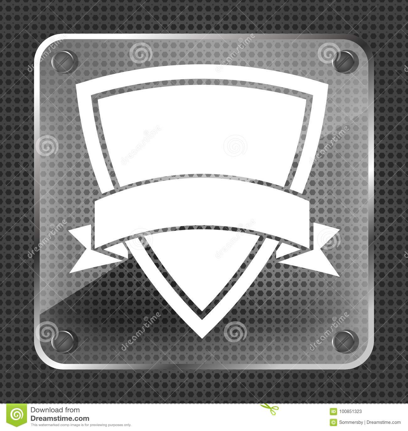 Icono de cristal del escudo con la cinta