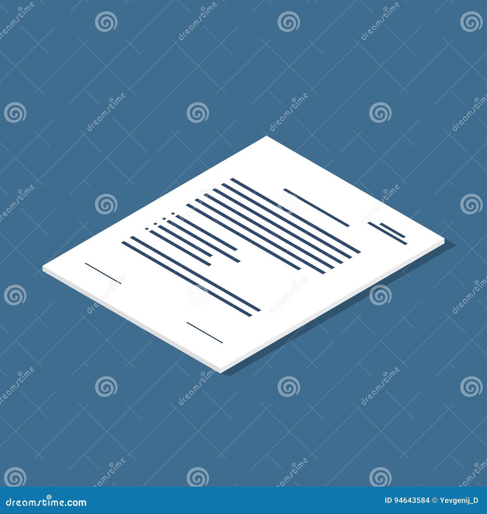 Icono De Documento Isométrico Acuerdo, Símbolo Del Contrato ...