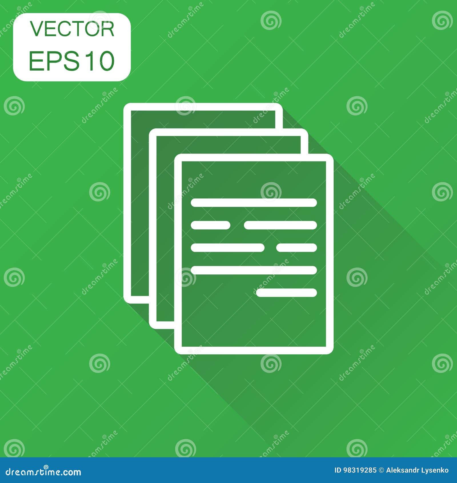 Icono de documento Pictograma de la nota del documento de concepto del negocio Vector