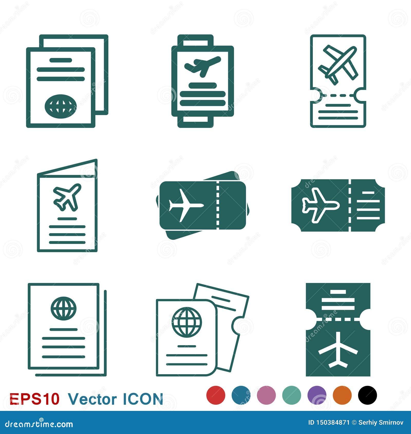 Icono de documentos de viaje, pasaporte con de los boletos el icono completamente aislado Viaje y turismo del concepto