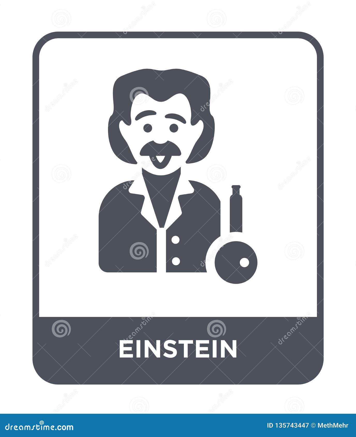 Icono de einstein en estilo de moda del diseño icono de einstein aislado en el fondo blanco plano simple y moderno del icono del