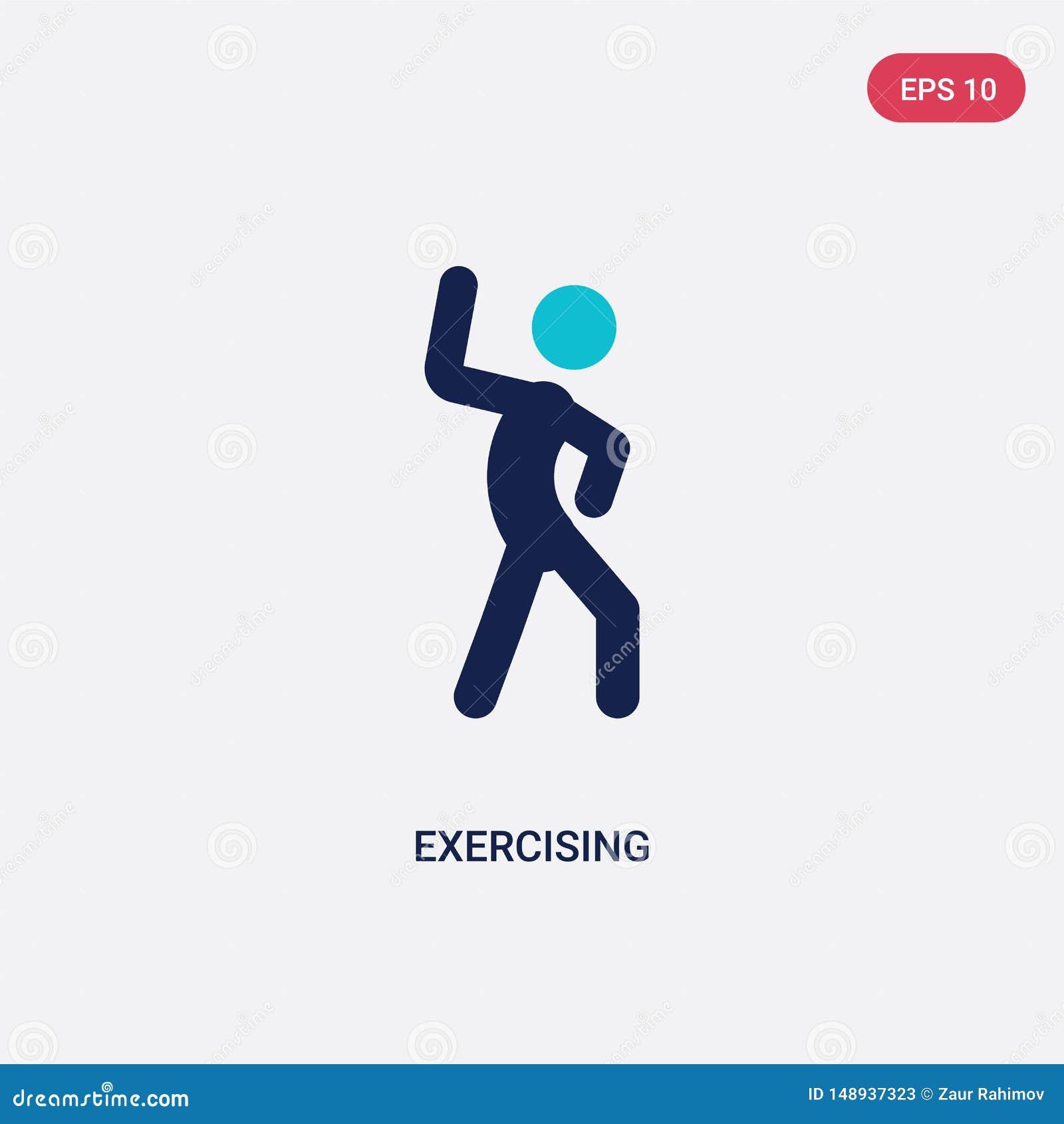 Icono de ejercicio bicolor del vector de la actividad y del concepto de las aficiones el símbolo de ejercicio azul aislado de la