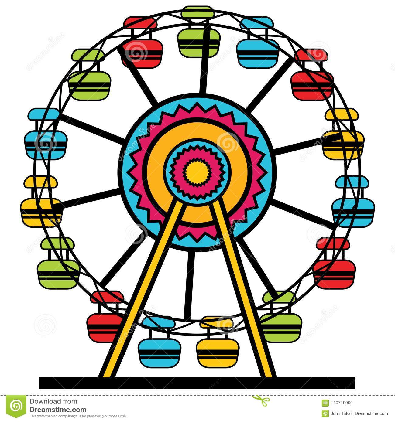 Icono de Ferris Wheel Amusement Park Cartoon