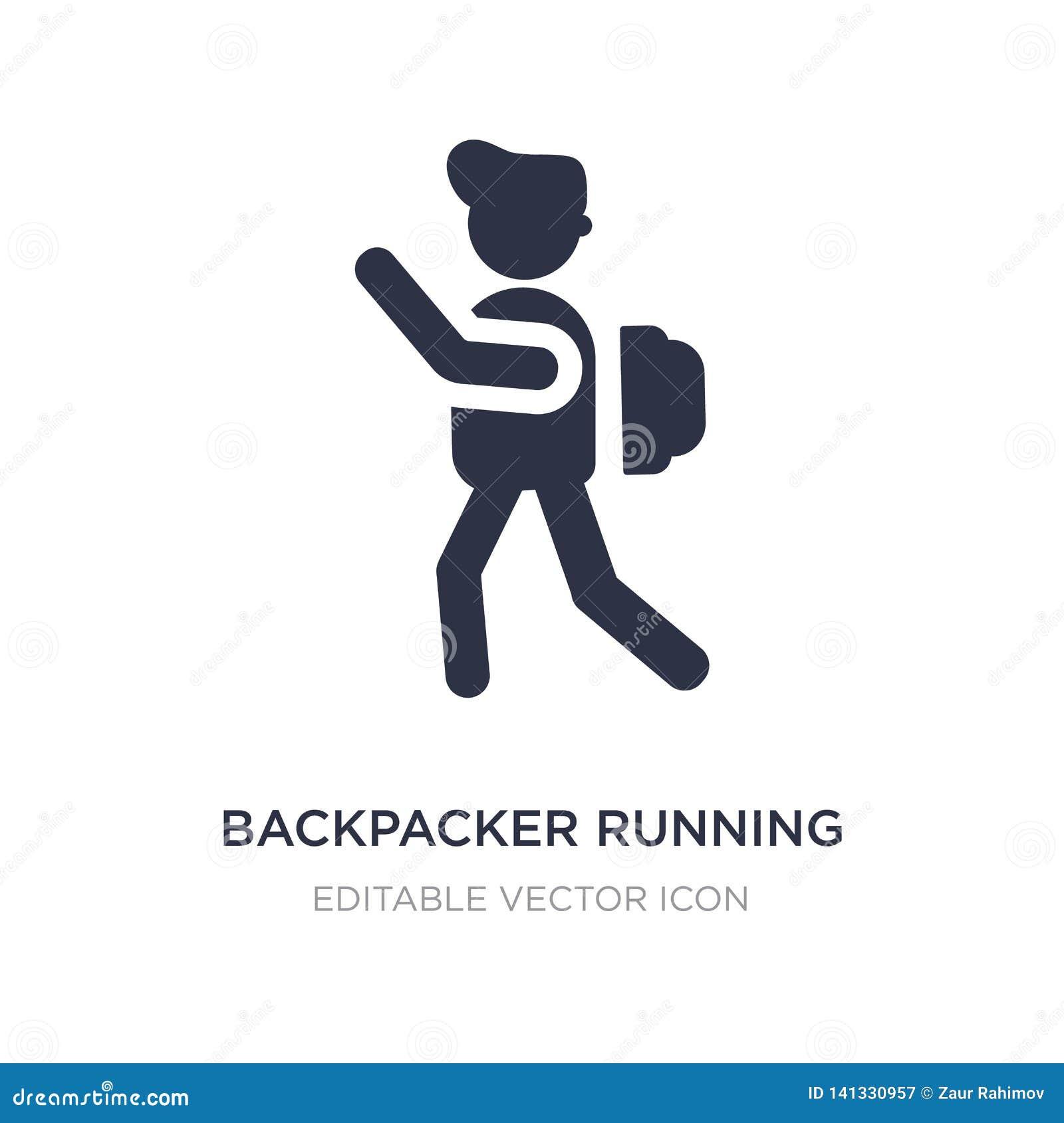 Icono de funcionamiento del backpacker en el fondo blanco Ejemplo simple del elemento del concepto de la gente