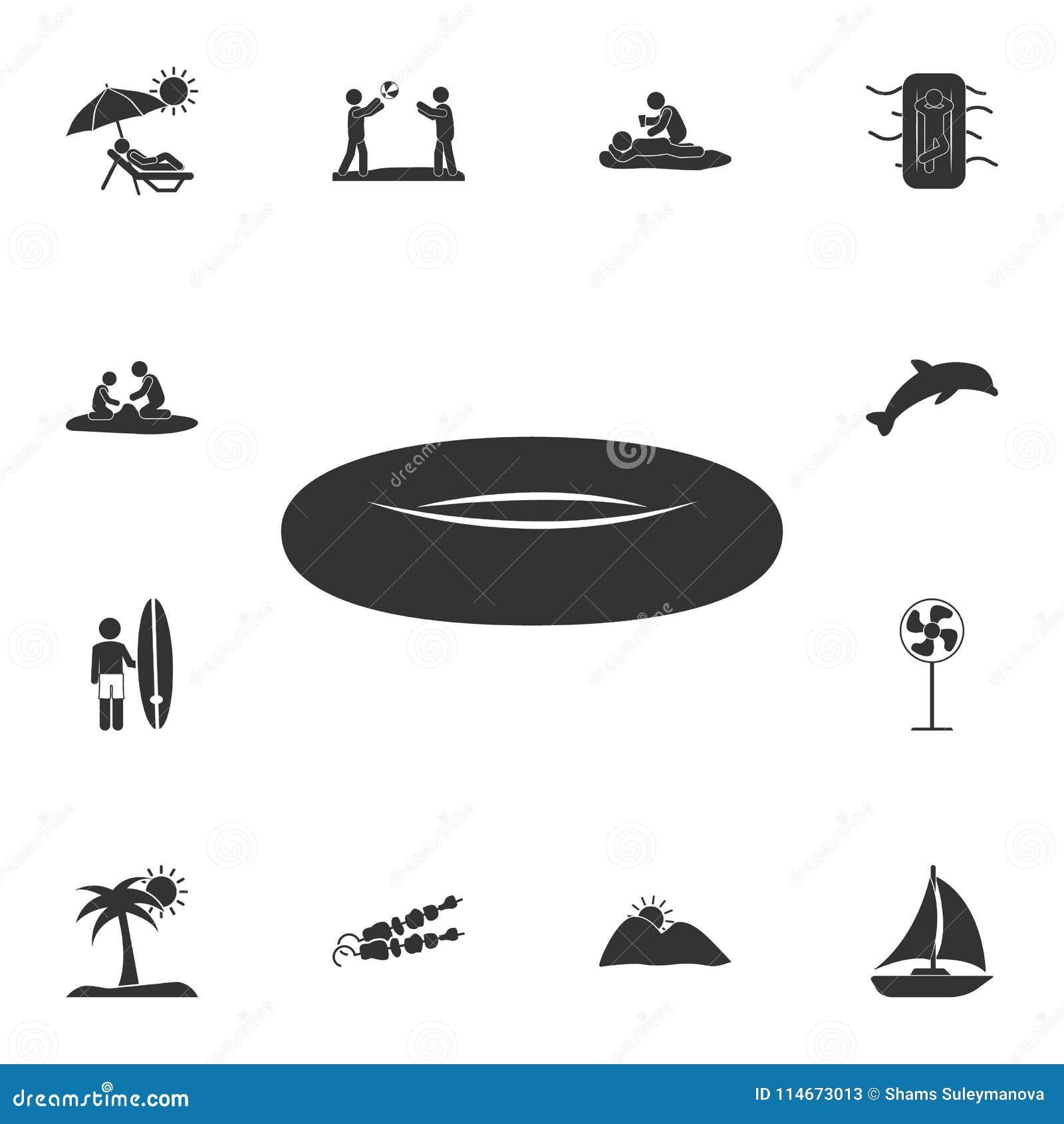Icono de goma del bote Sistema detallado de ejemplos del verano Icono superior del diseño gráfico de la calidad Uno de los iconos