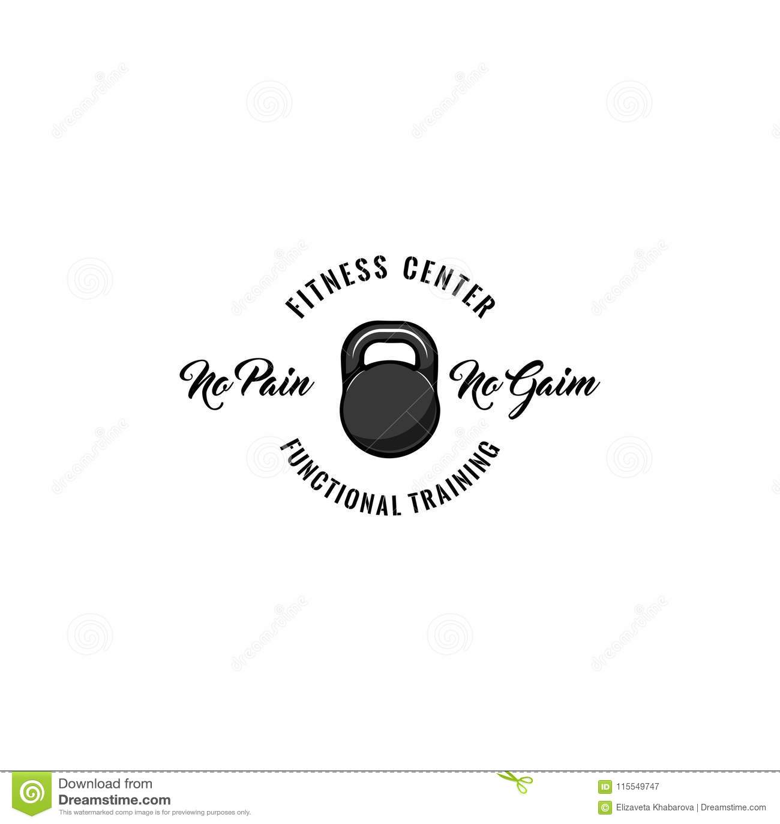 Icono de Kettlebell Etiqueta del logotipo de la insignia del centro de aptitud Ningún dolor ningunas letras del aumento Icono del