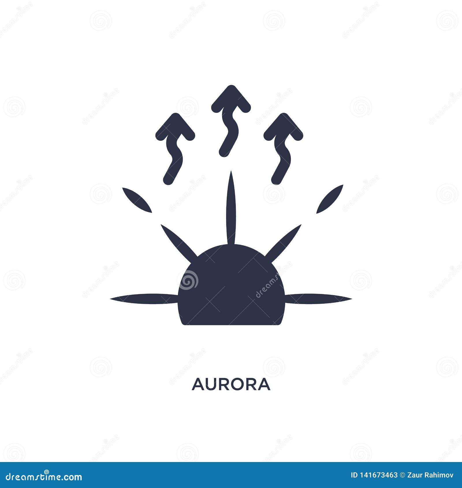 Icono de la aurora en el fondo blanco Ejemplo simple del elemento del concepto del tiempo