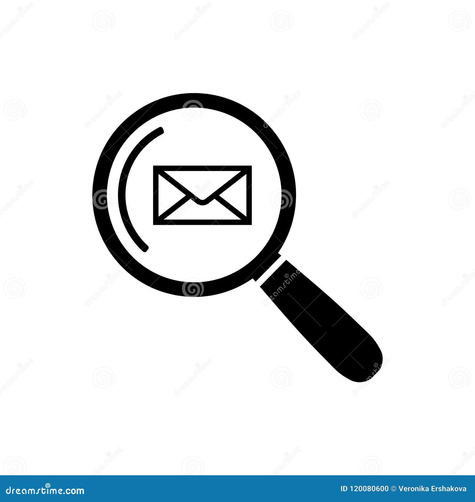 Icono de la búsqueda del correo electrónico en símbolo plano de la búsqueda del correo del estilo