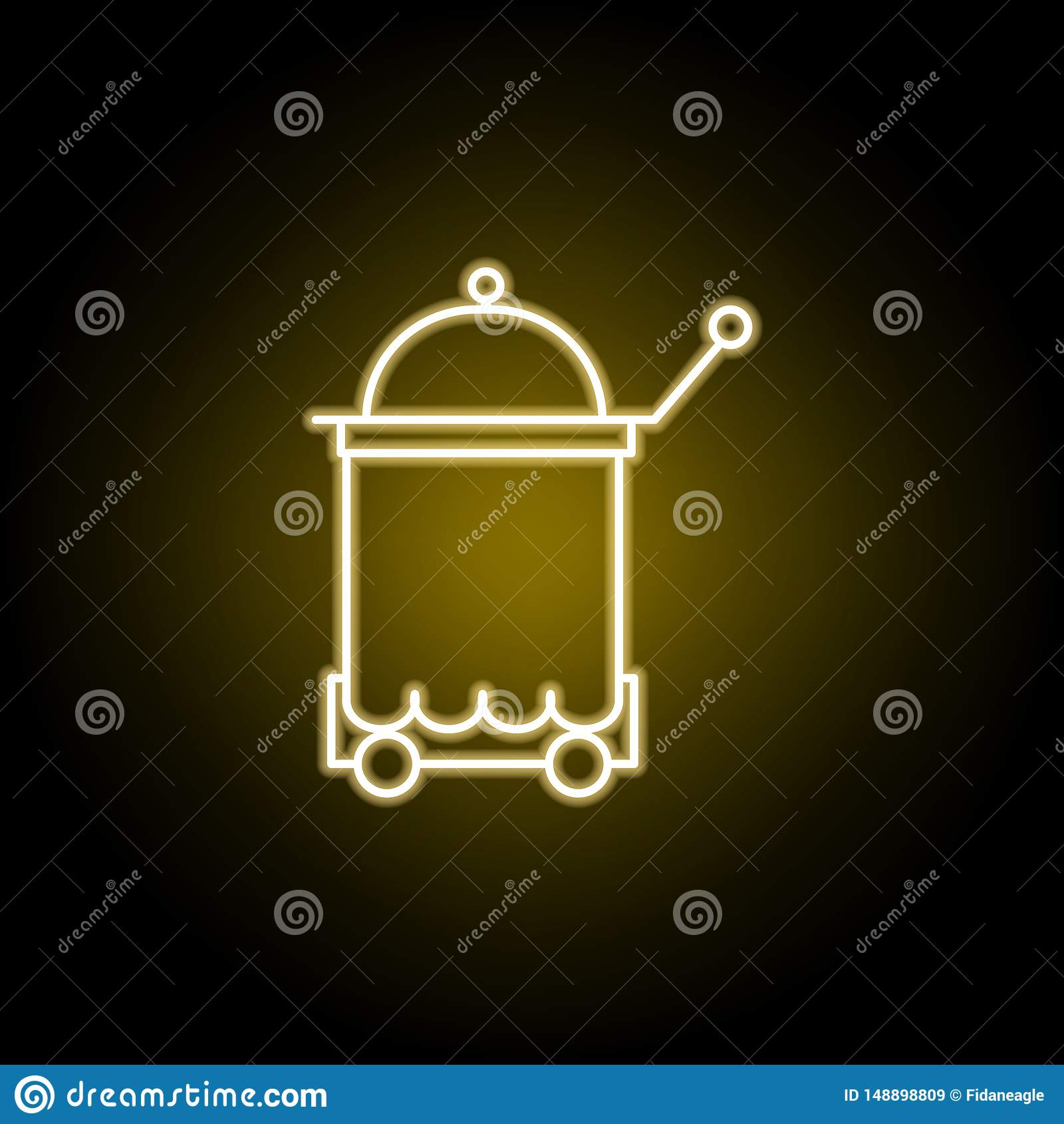 Icono de la bandeja del servicio de habitaci?n en el estilo de ne?n Las muestras y los s?mbolos se pueden utilizar para la web, l