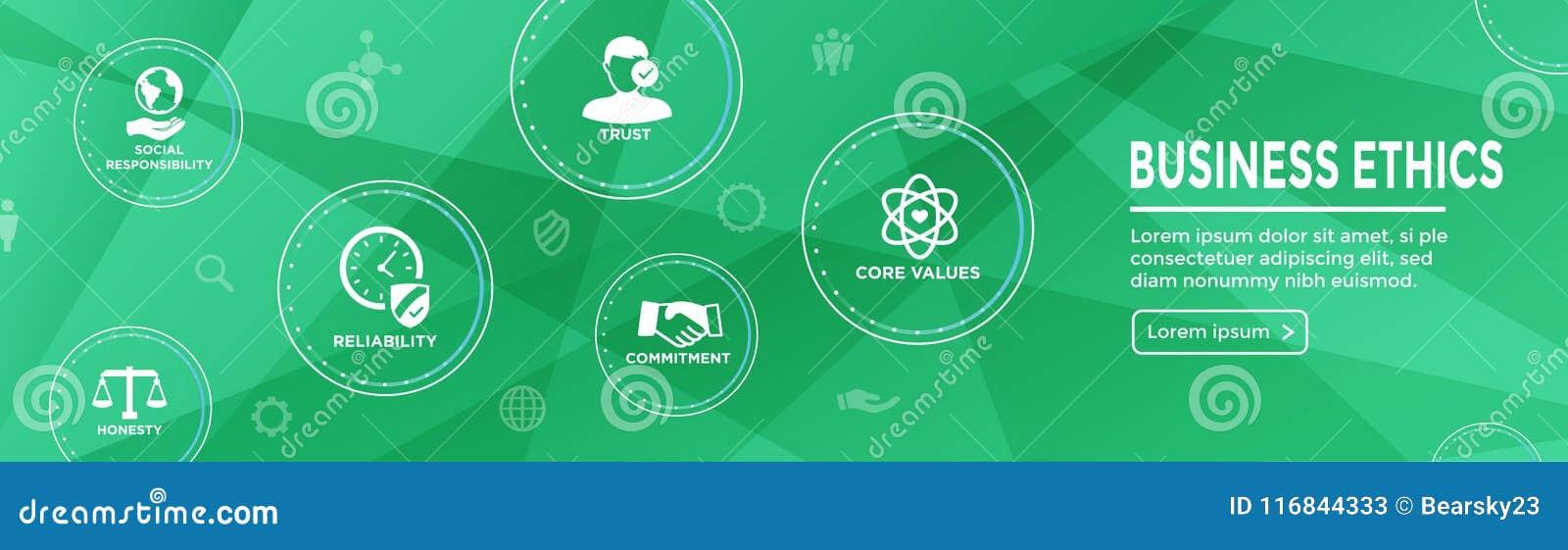 Icono de la bandera del web de la ética empresarial fijado con la honradez, integridad, COM