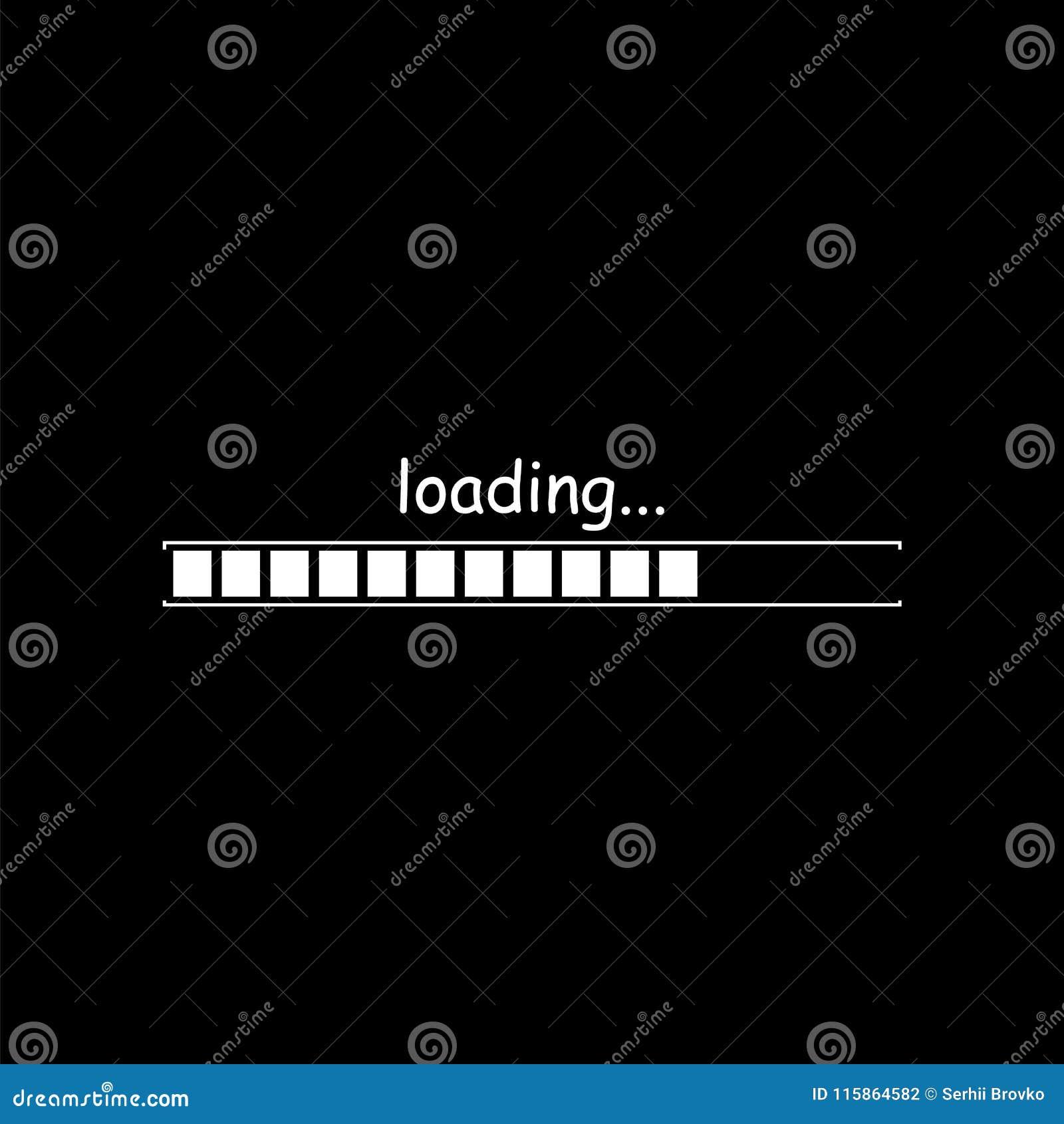Icono de la barra de cargamento aislado en fondo negro Ilustración del vector