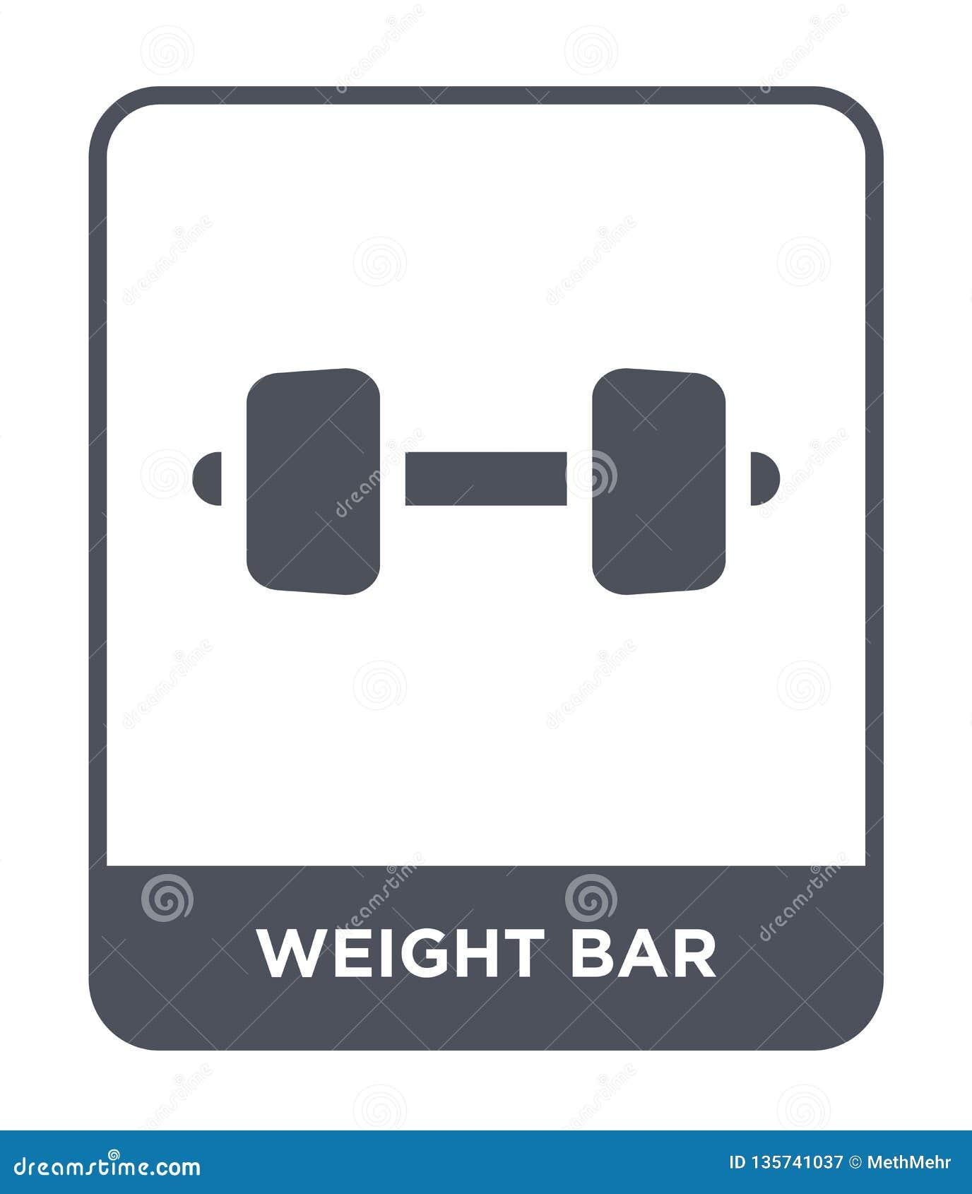 Icono de la barra del peso en estilo de moda del diseño icono de la barra del peso aislado en el fondo blanco icono del vector de