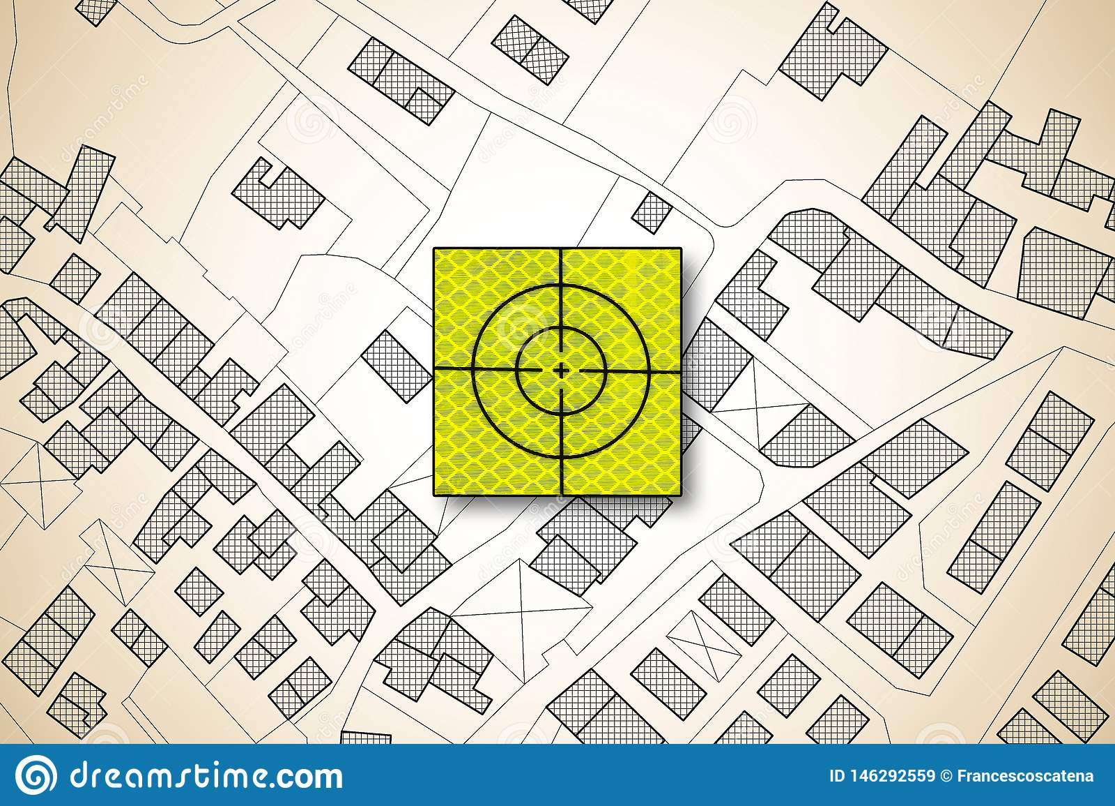 Icono de la blanco sobre un mapa catastral imaginario del territorio con los edificios, los caminos y el paquete de tierra - imag