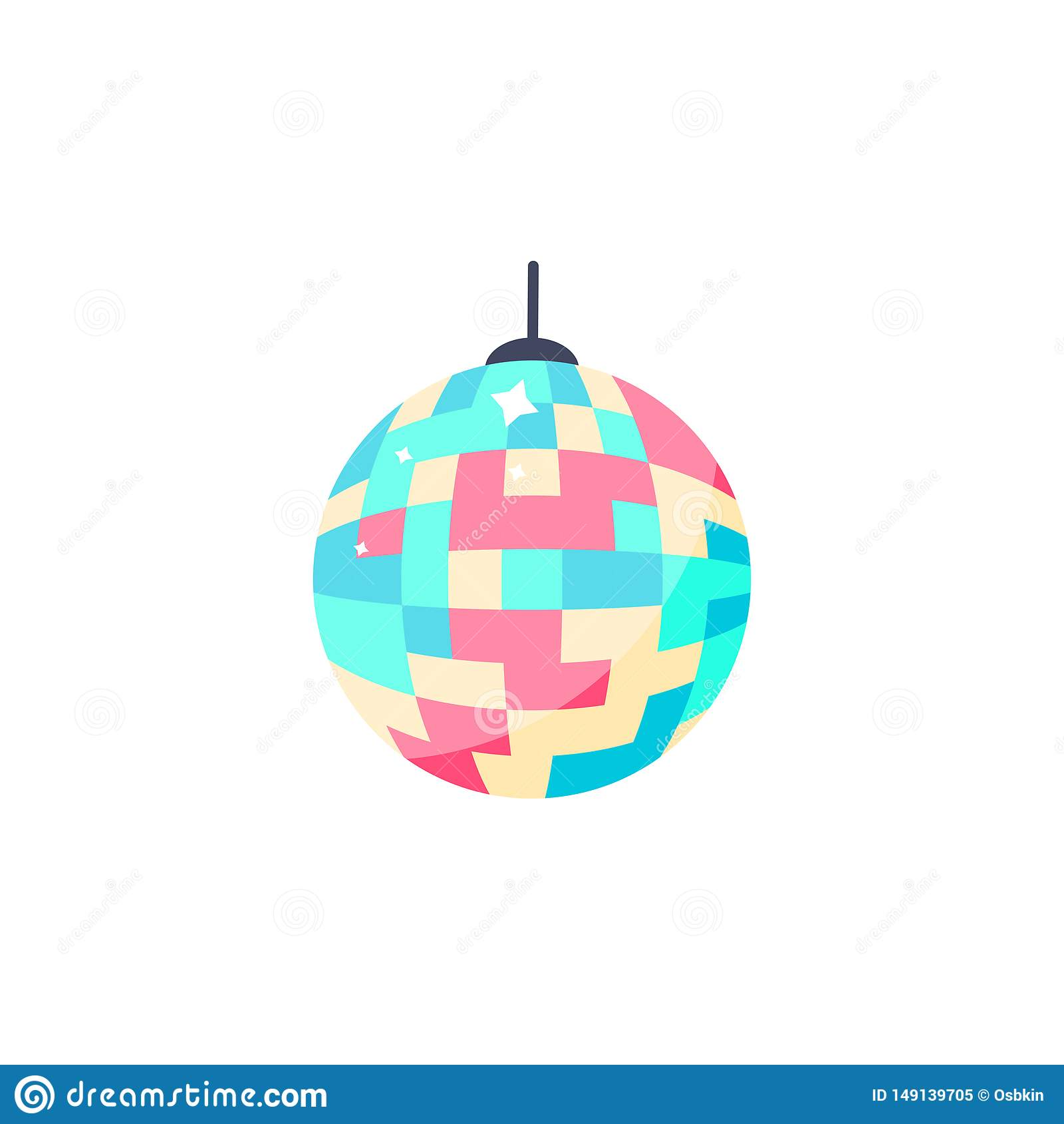 Icono de la bola de discoteca Bola colorida aislada para el partido