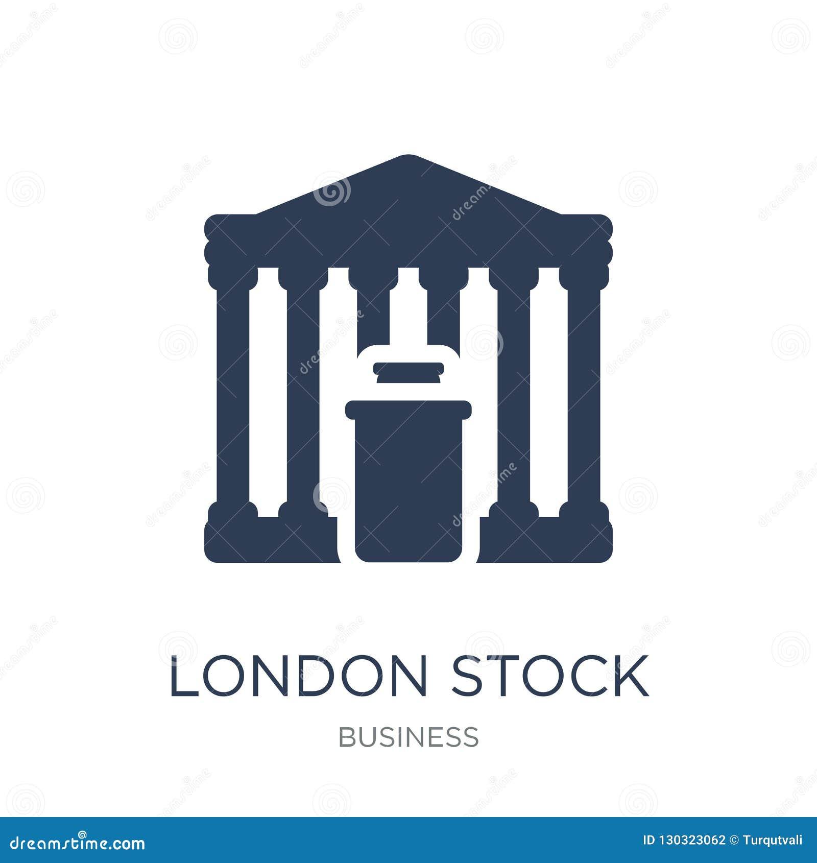 Icono de la bolsa de acción de Londres Intercambio común de Londres del vector plano de moda