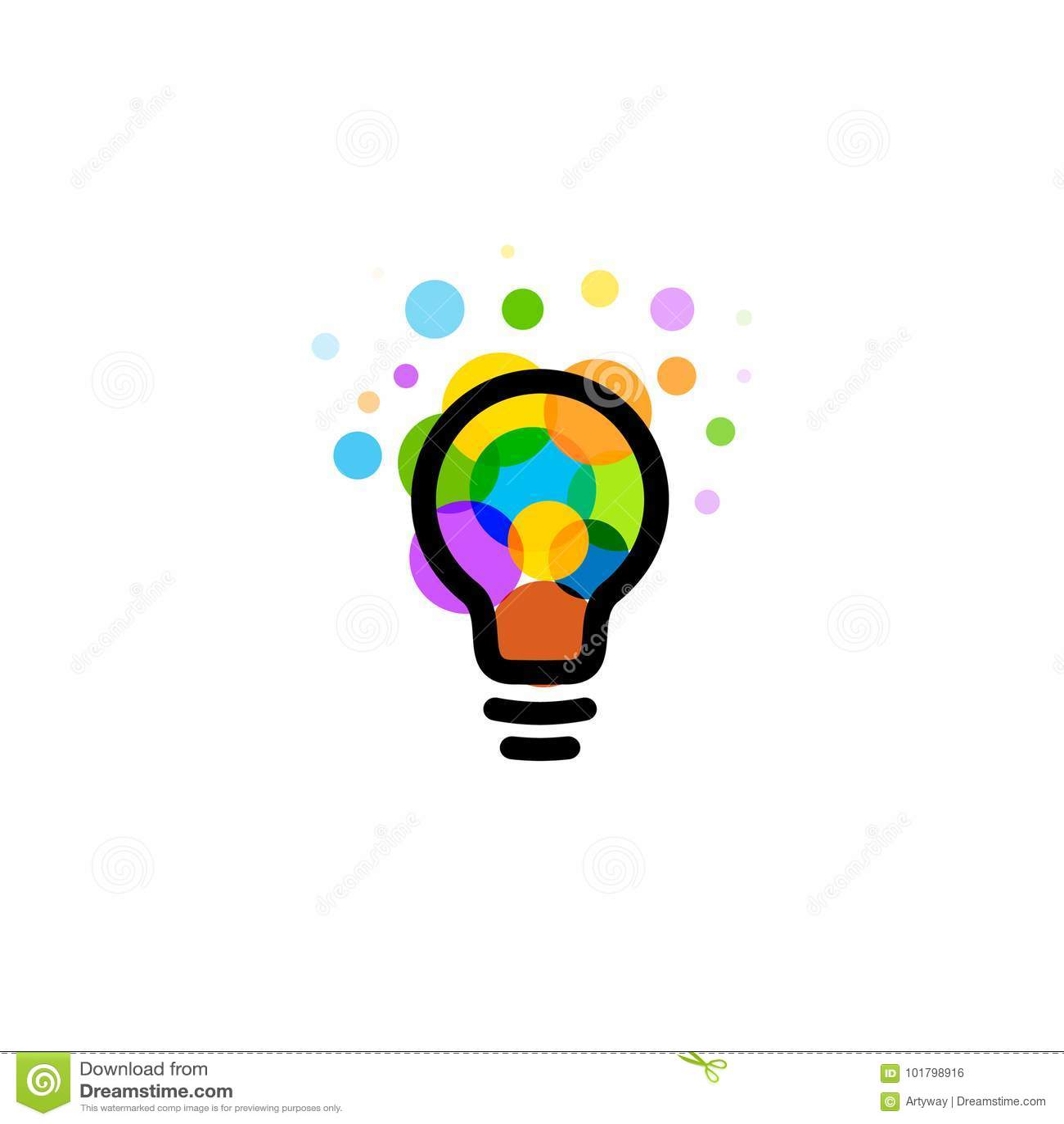 Icono de la bombilla Concepto de diseño creativo del logotipo de la idea Círculos coloridos brillantes, arte del vector de las bu