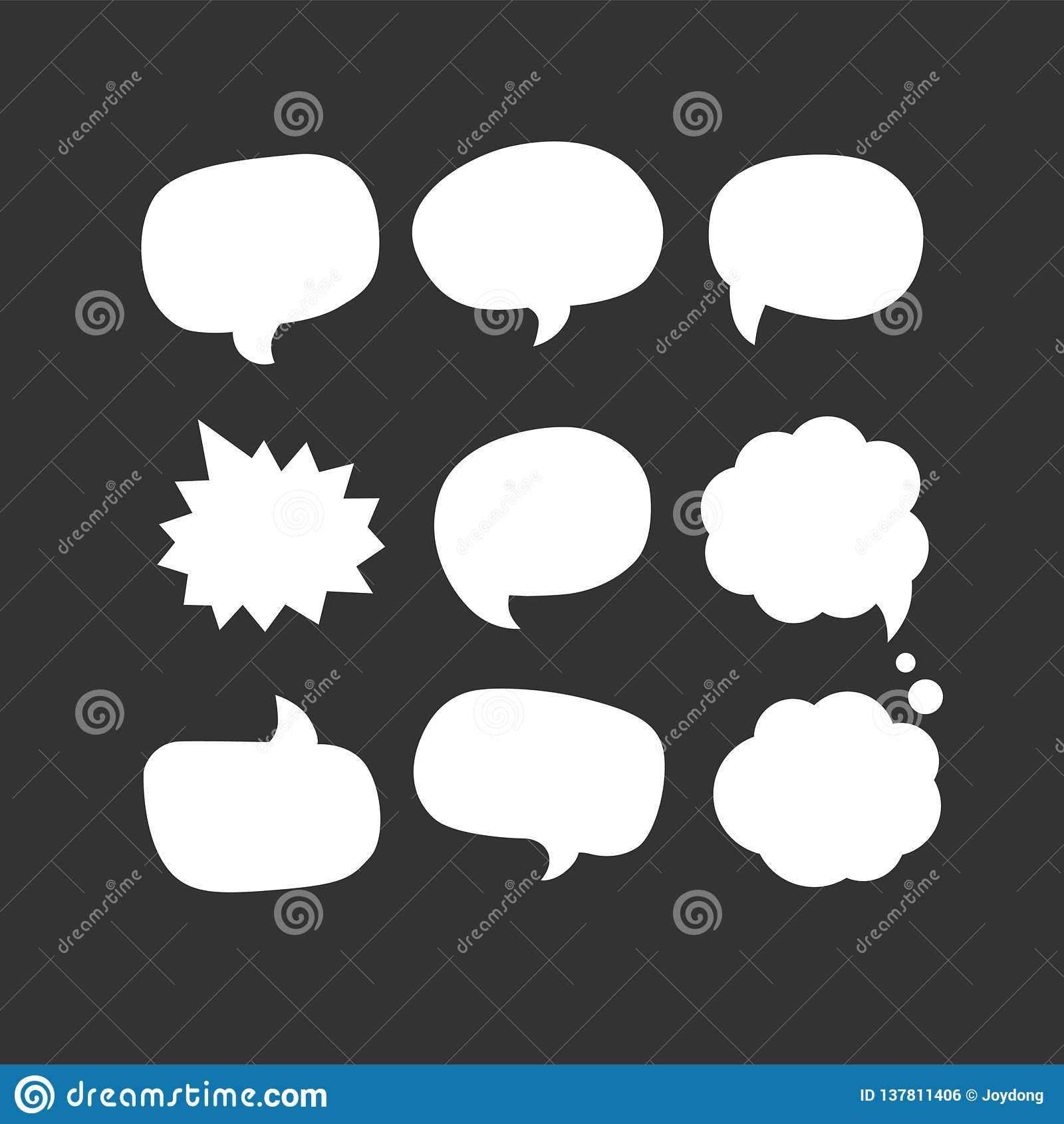 Icono de la burbuja del discurso Nueve de iconos determinados del vector de la web