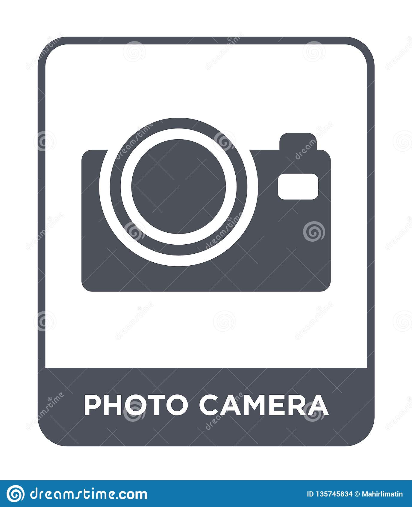 Icono de la cámara de la foto en estilo de moda del diseño Icono de la cámara de la foto aislado en el fondo blanco icono del vec