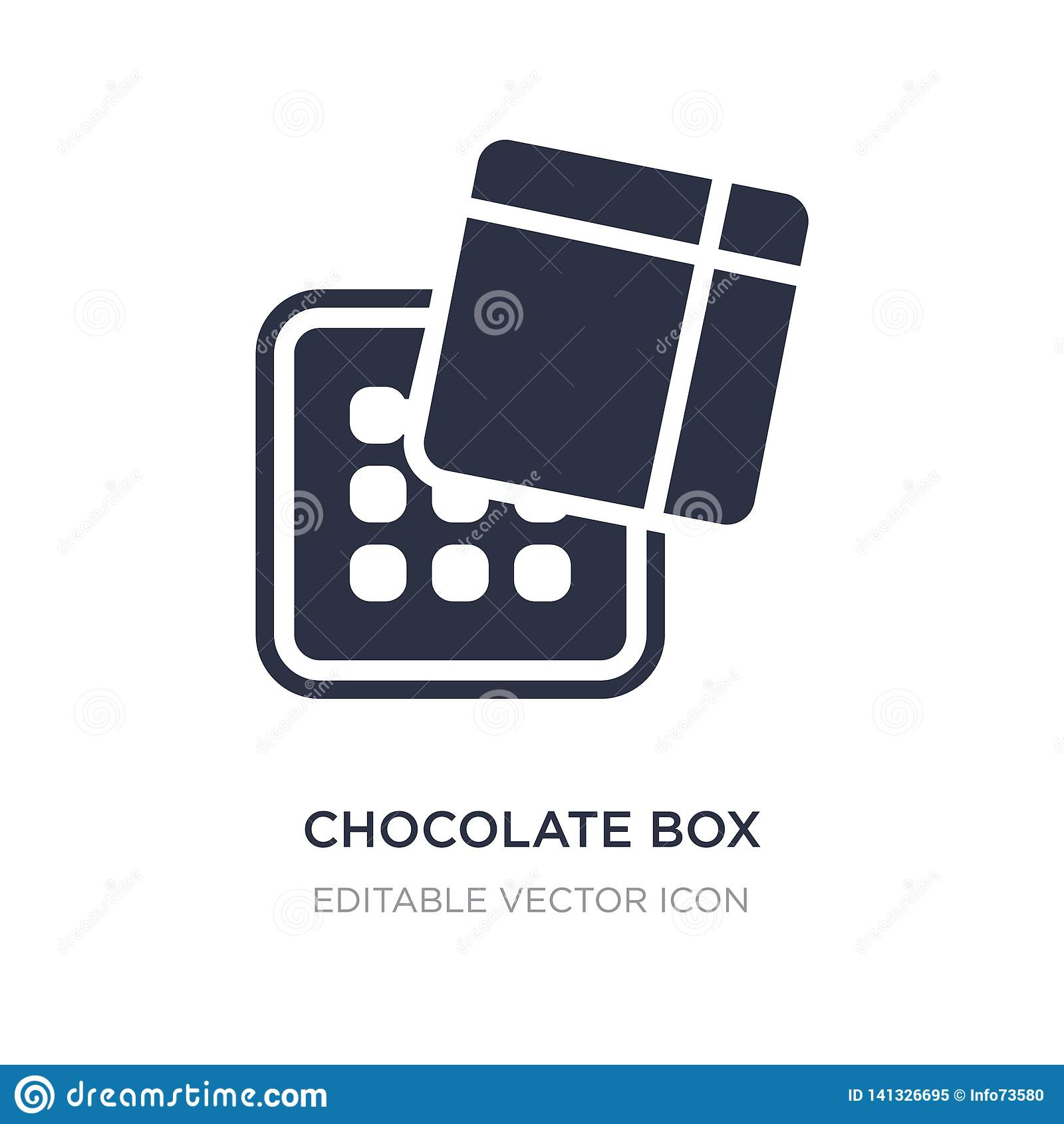 Icono de la caja del chocolate en el fondo blanco Ejemplo simple del elemento del concepto de las herramientas y de los utensilio