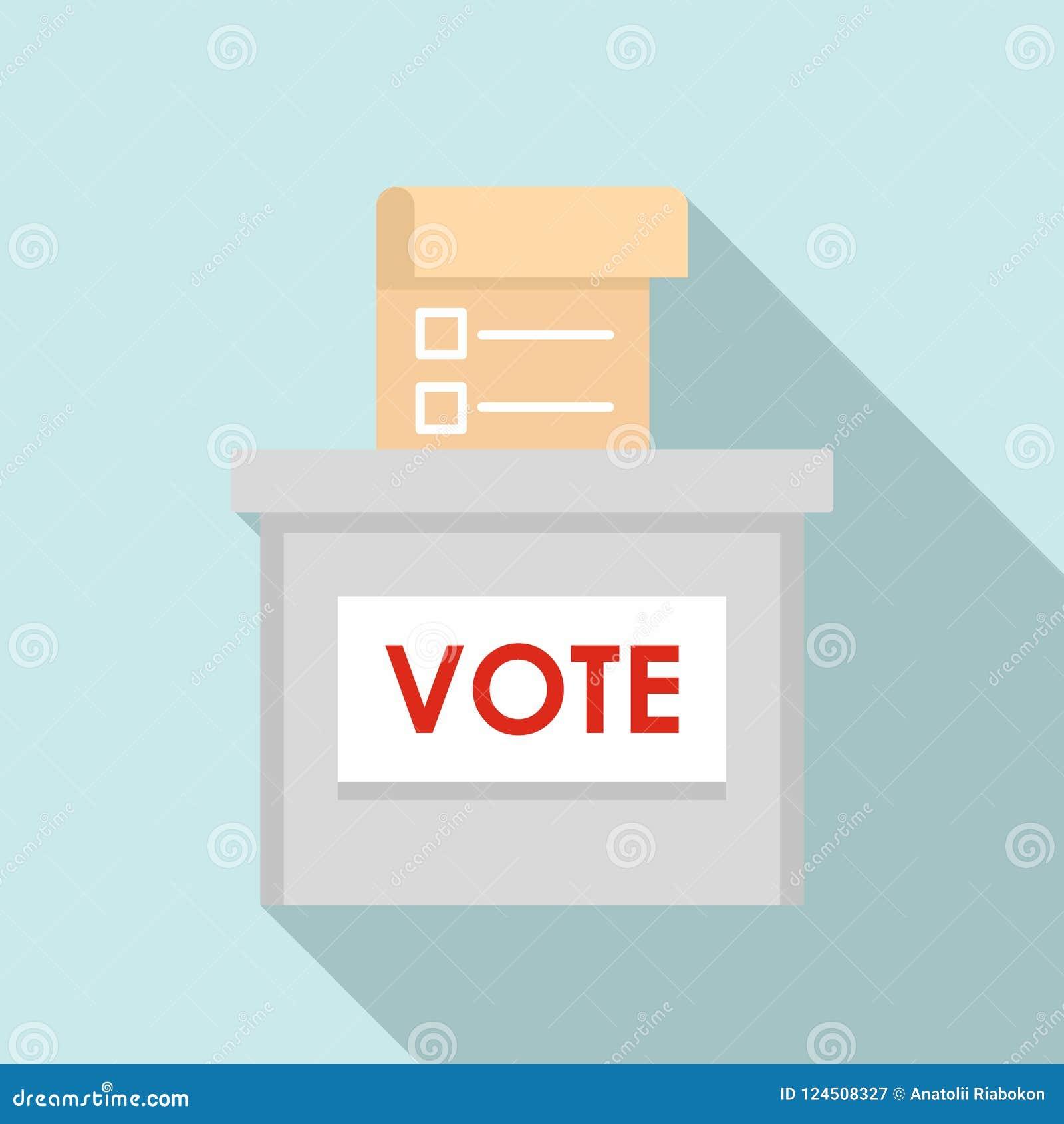 Icono de la caja de la elección del voto, estilo plano