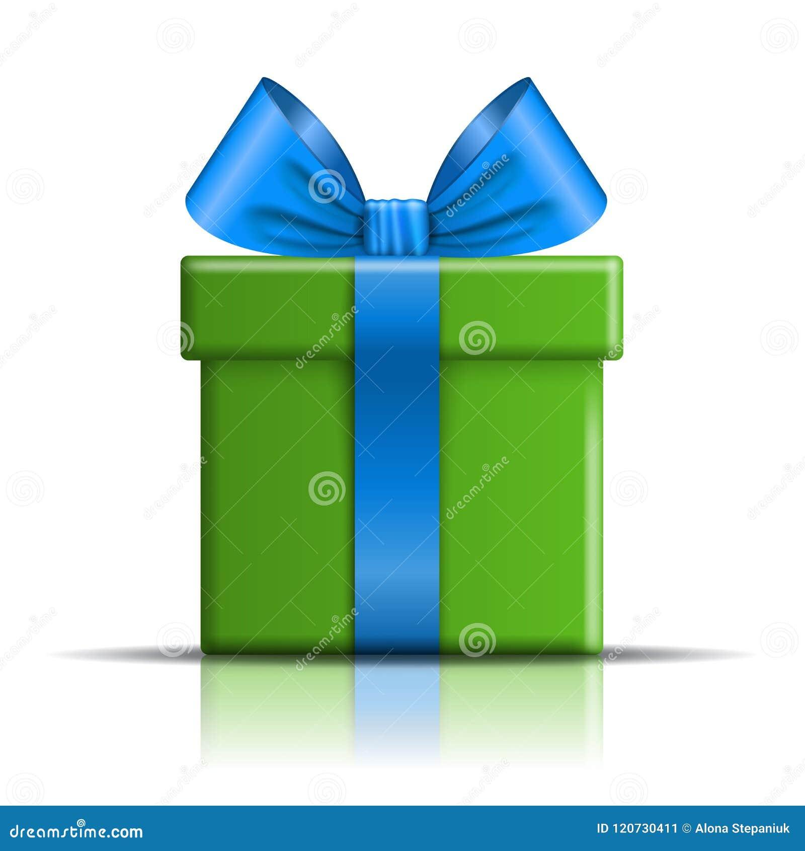 Icono de la caja de regalo Sorprenda la actual plantilla, arco de la cinta azul, fondo blanco aislado decoración del diseño 3D pa