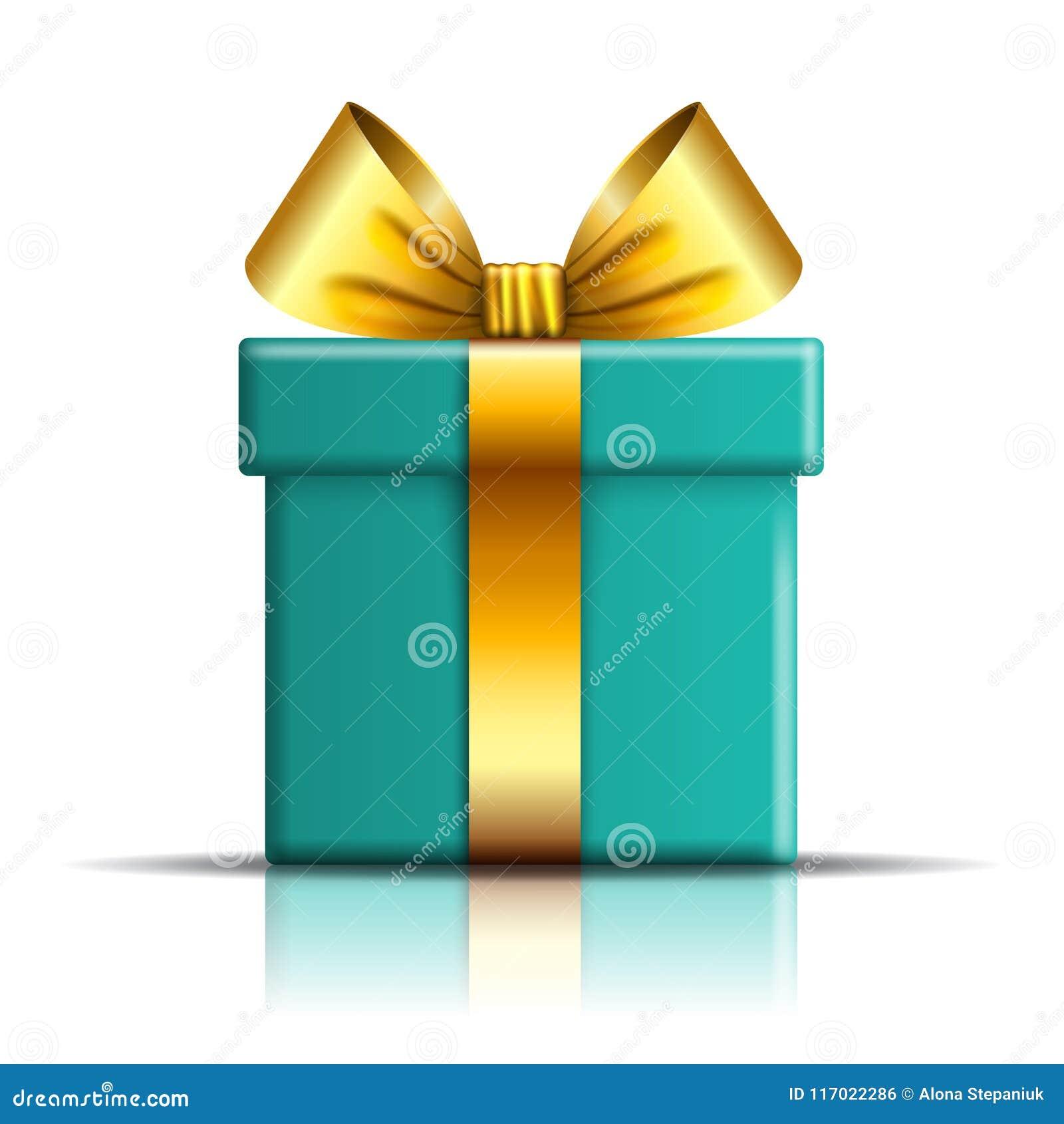 Icono de la caja de regalo Sorprenda la actual plantilla, arco de la cinta del oro, fondo blanco aislado decoración del diseño 3D
