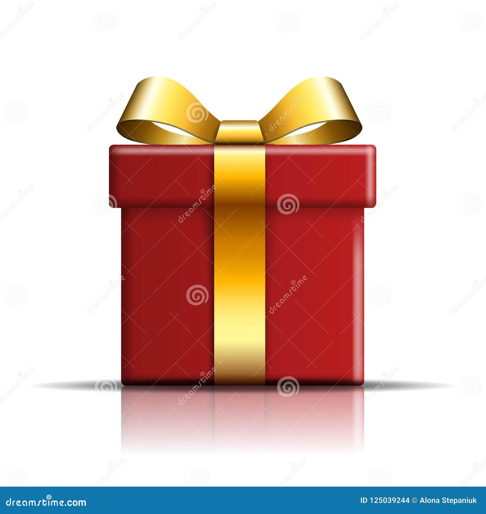 Icono de la caja de regalo Sorprenda la actual plantilla del rojo-oro, arco de la cinta, fondo blanco aislado decoración del dise