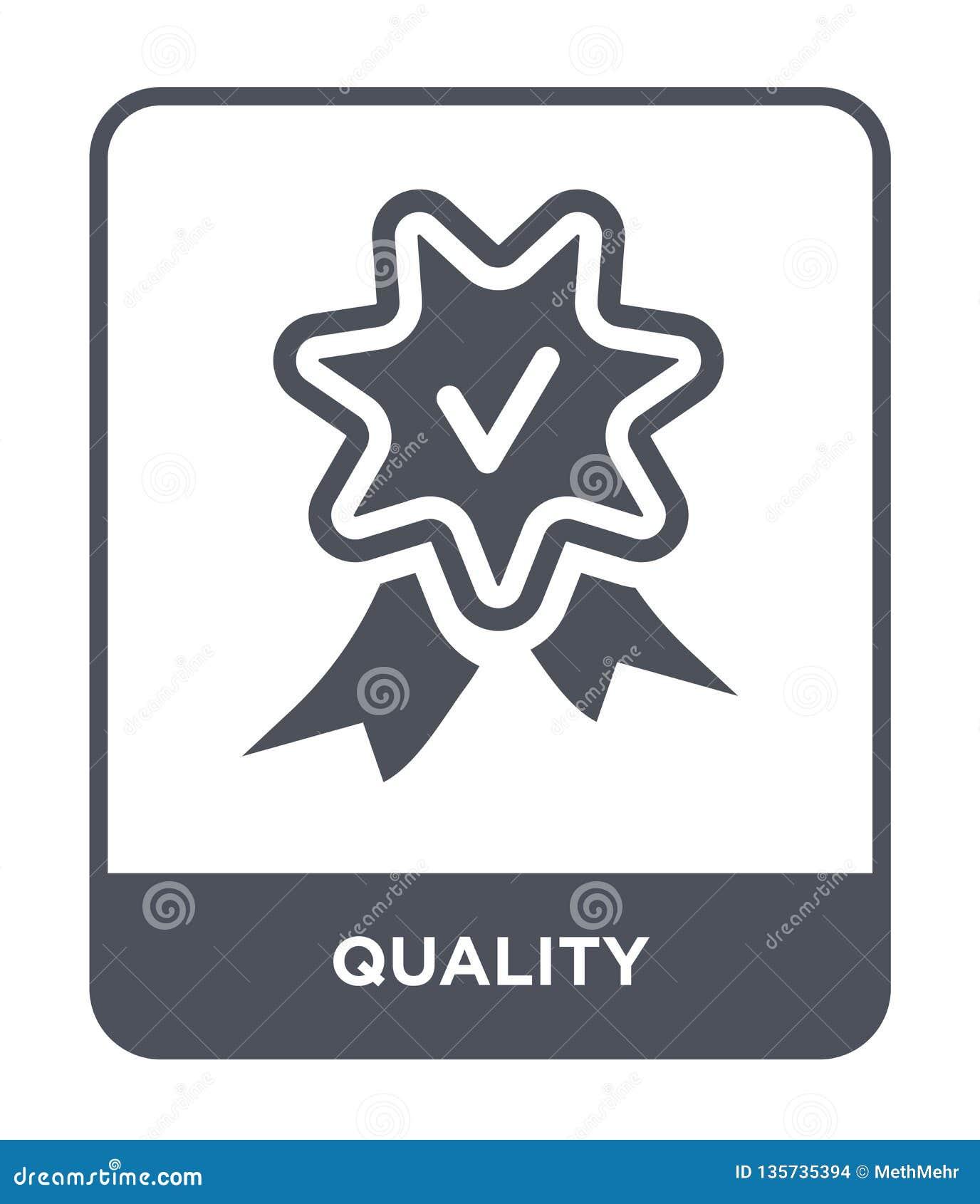 Icono de la calidad en estilo de moda del diseño icono de la calidad aislado en el fondo blanco símbolo plano simple y moderno de