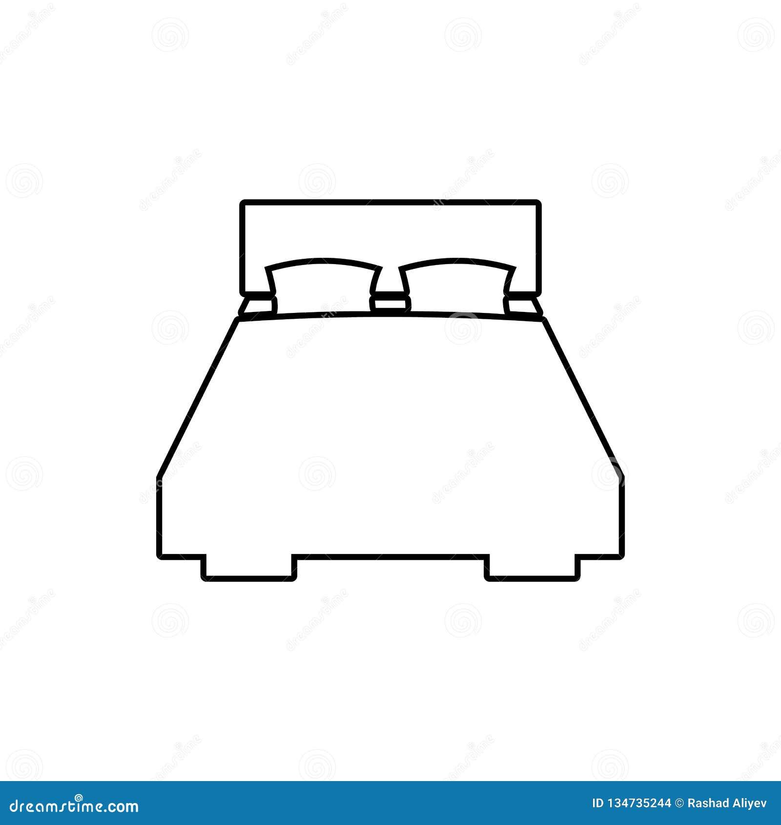 Icono de la cama matrimonial Elemento de los muebles para el concepto y el icono móviles de los apps de la web Línea fina icono p