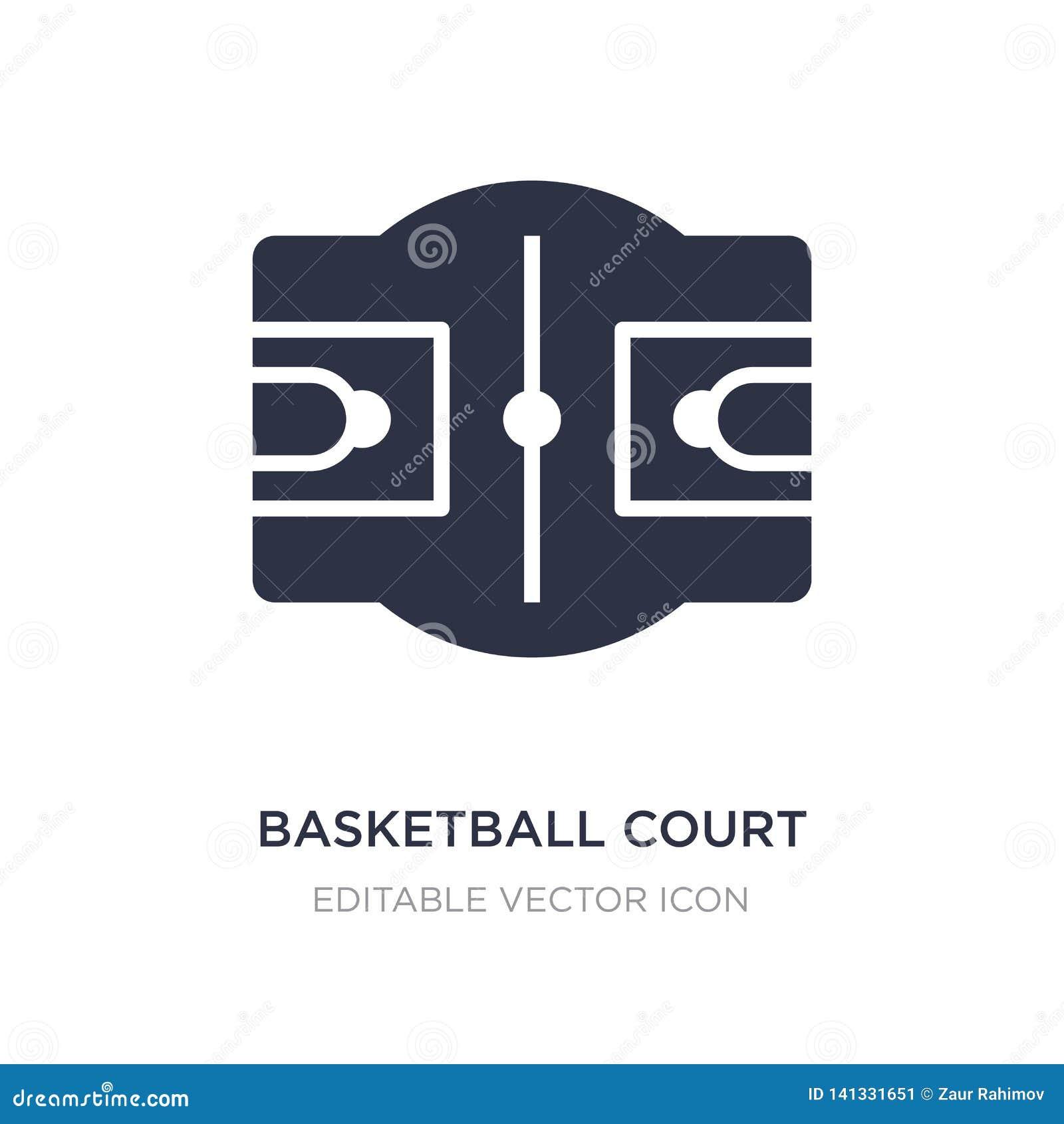 Icono de la cancha de básquet en el fondo blanco Ejemplo simple del elemento del concepto de los deportes