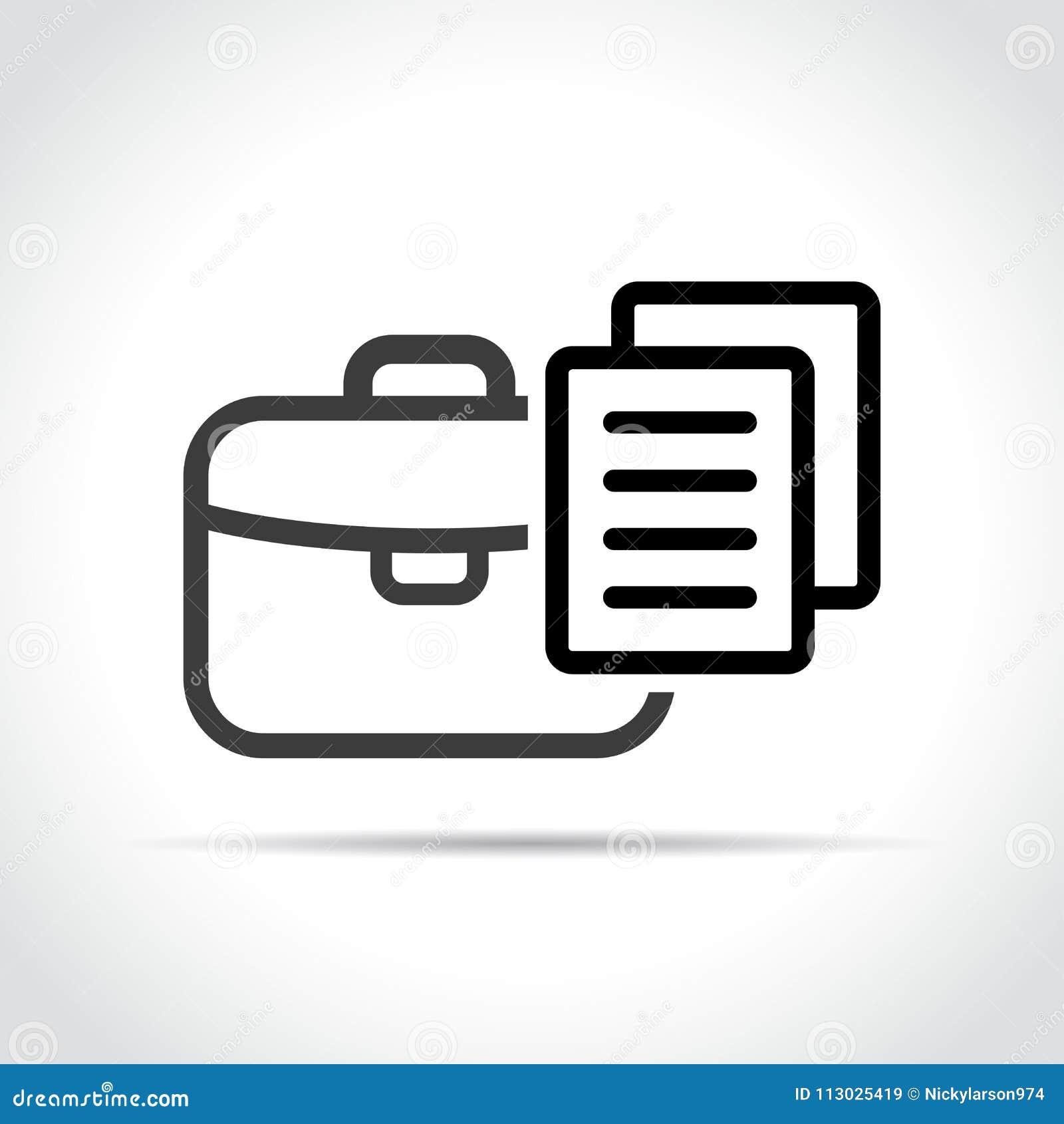 Icono de la cartera en el fondo blanco