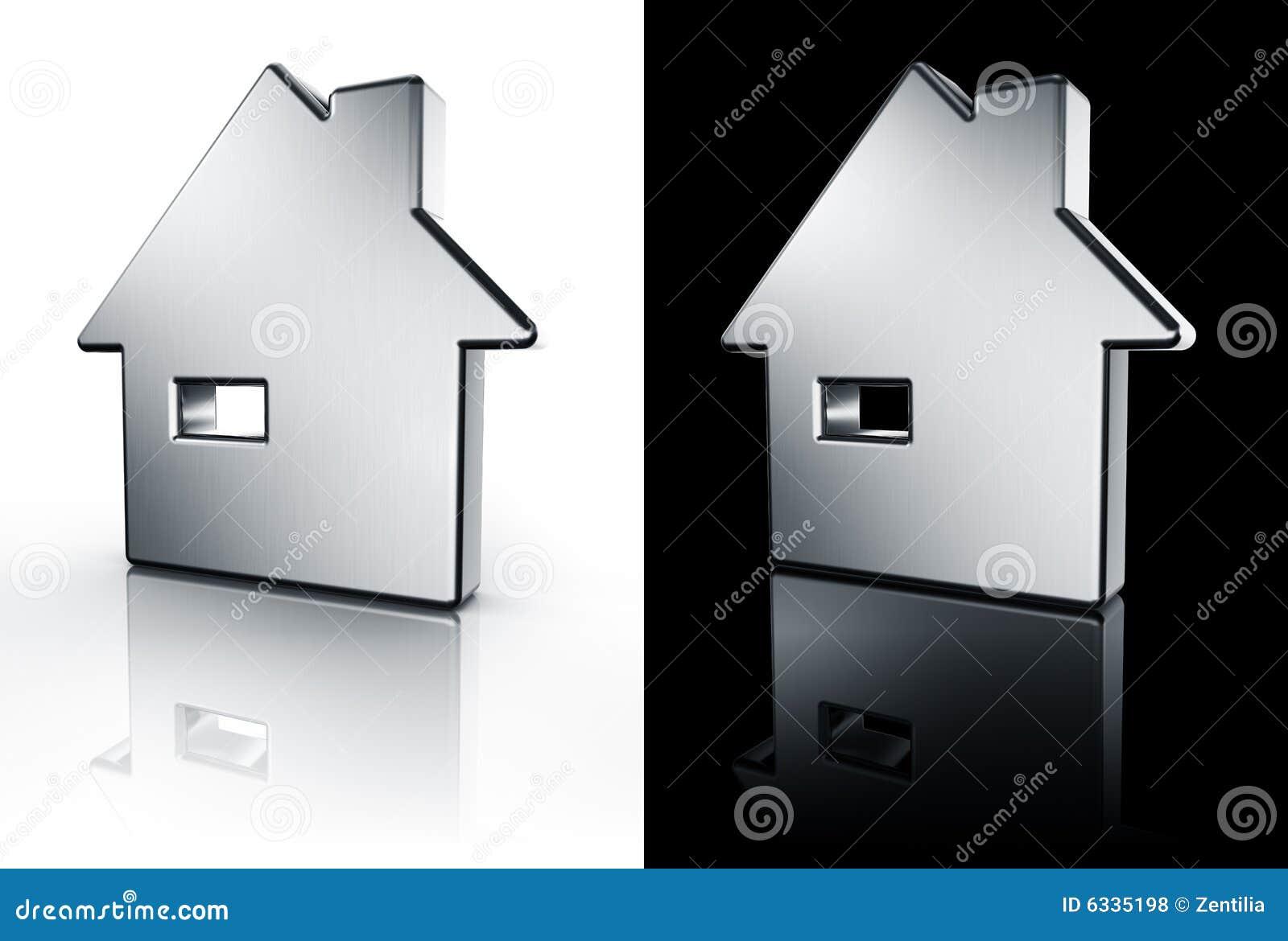 Icono de la casa en el suelo blanco y negro fotos de for Suelo 3d blanco