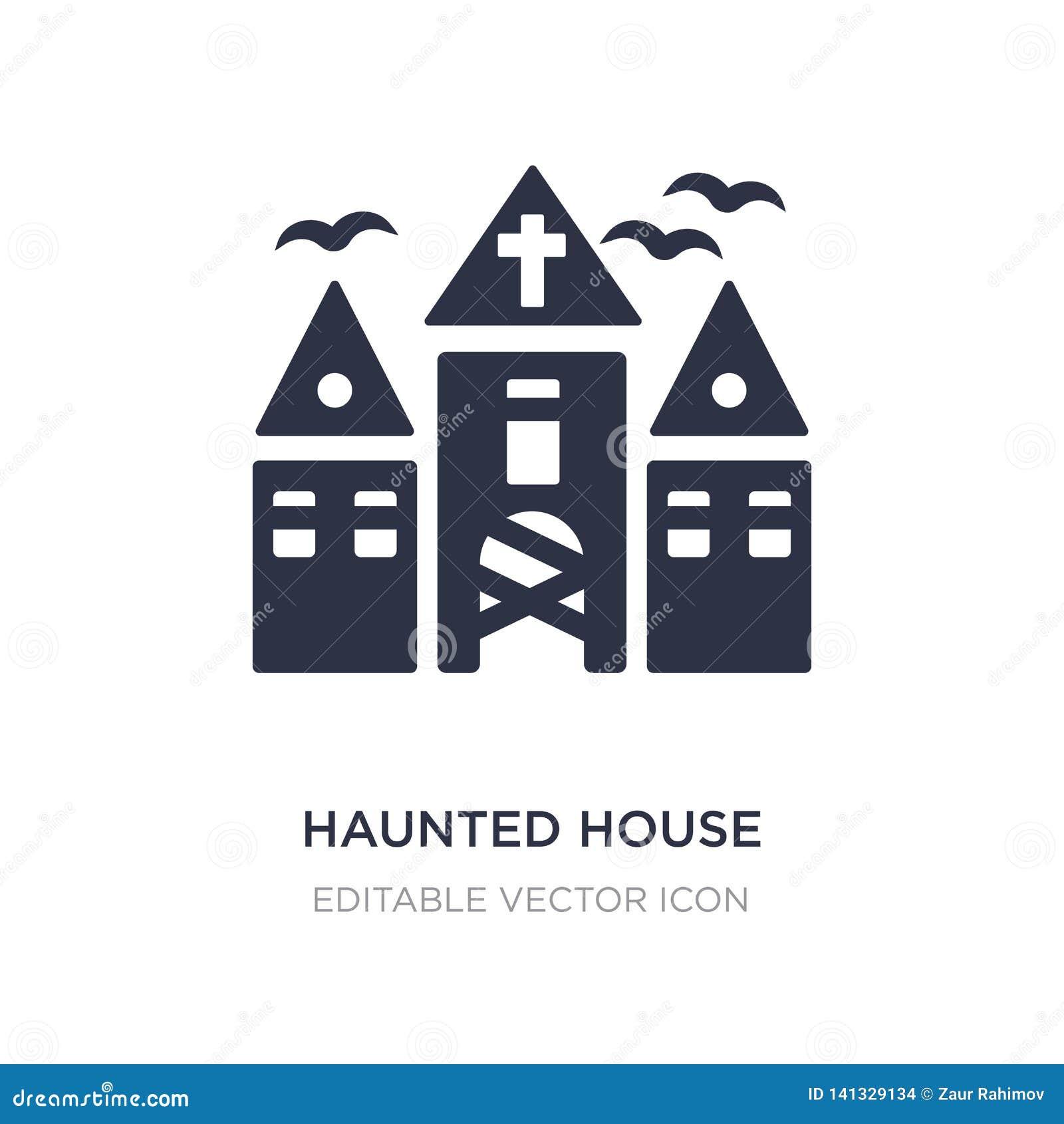 Icono de la casa encantada en el fondo blanco Ejemplo simple del elemento del concepto de Halloween